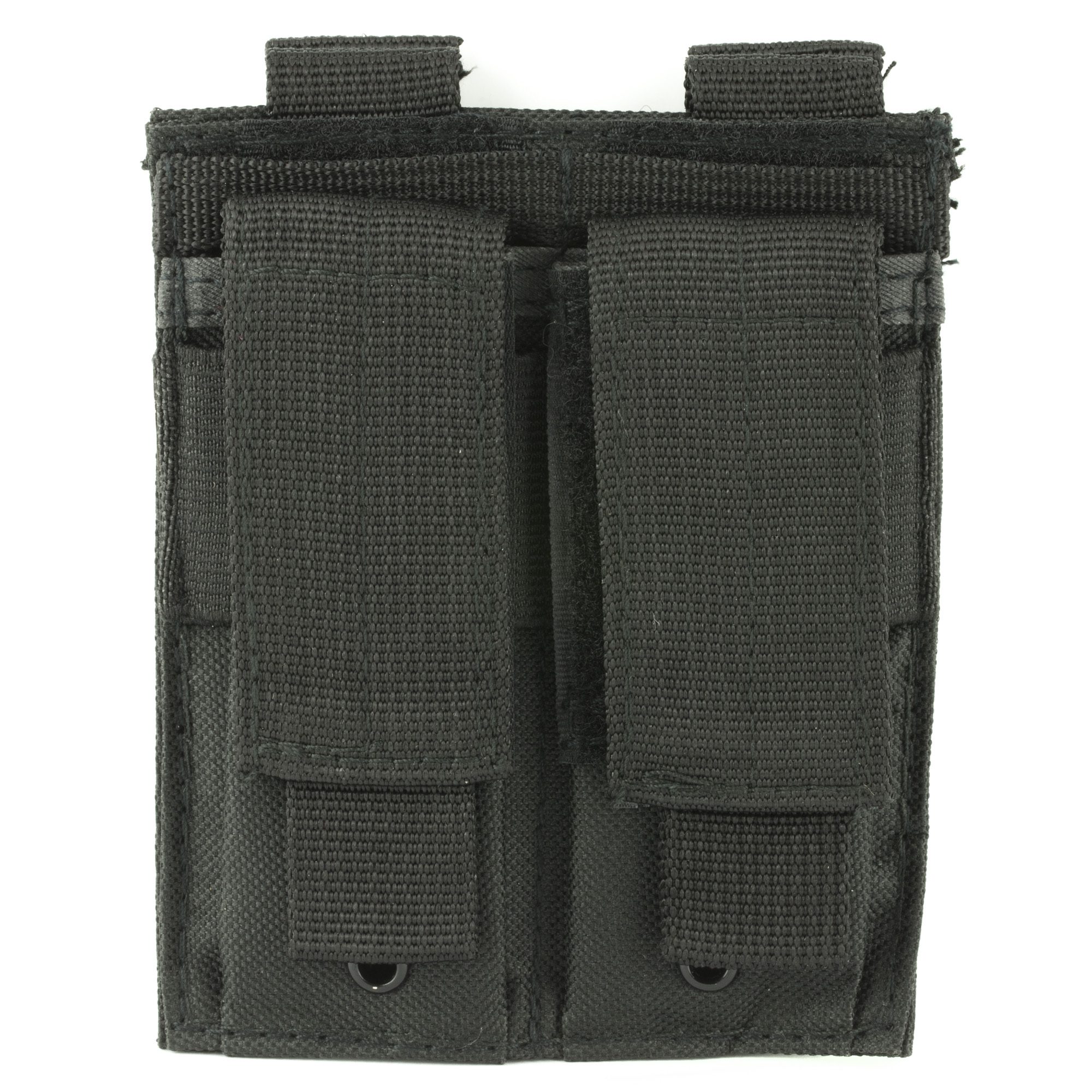 "When you need your spare magazines securely in place with quick access should the need arise"" get the NcSTAR Double Pistol Mag Pouch. Always have two standard size double stack magazines at the ready for your defensive pistol. It features 2 PALS snap straps and MOLLE webbing on the back for multiple attachment methods anywhere you need it. The Velcro closures are adjustable to the height of your standard capacity magazines and have pull tabs so there no fumbling around to deploy additional ammunition quickly. Constructed with durable heavy duty fabric and featuring drainage grommets for adverse weather"" this mag pouch will last a lifetime. Keep your spare ammo right at hand where you need it"" when you need it with the NcSTAR Double Pistol Mag Pouch."