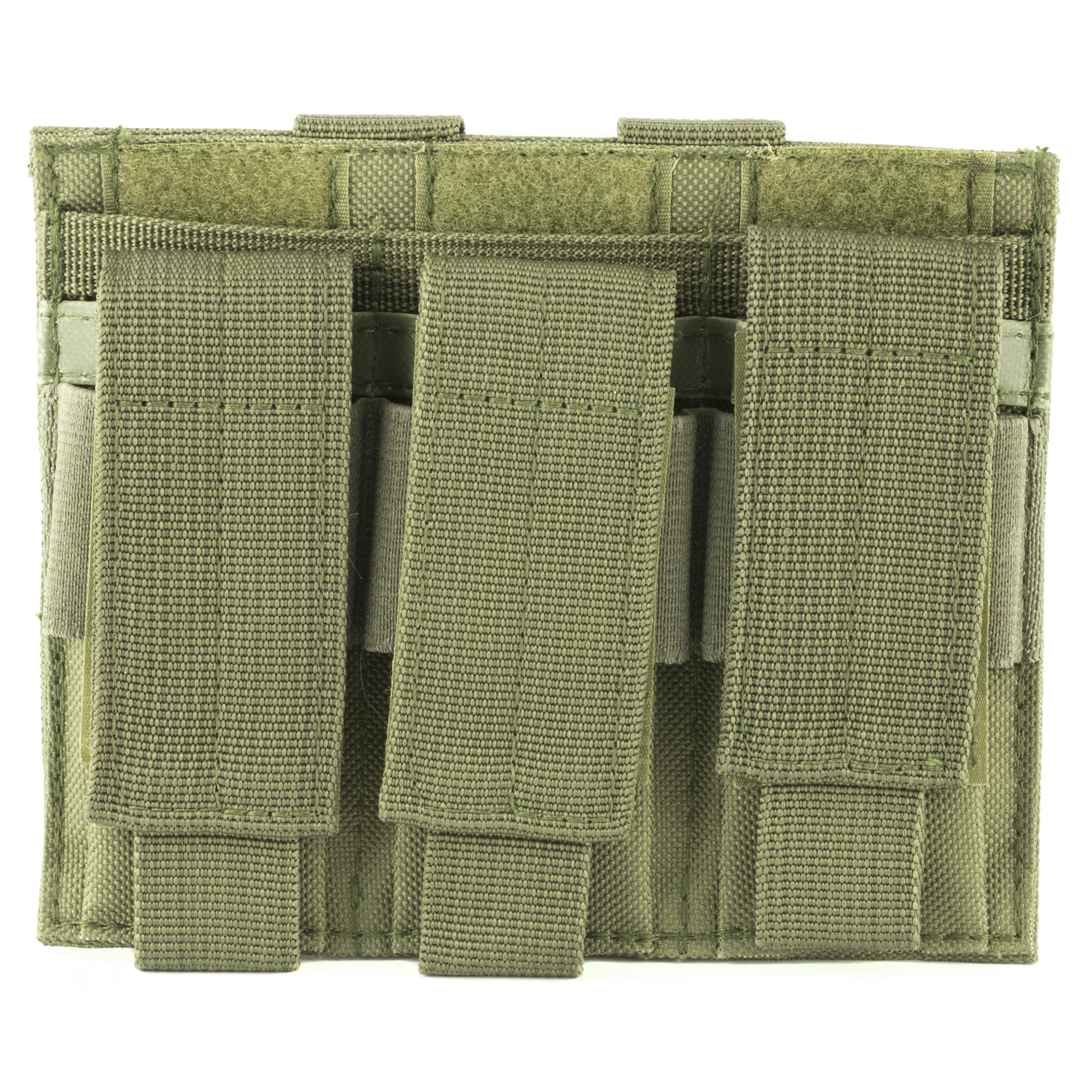 "When you need your spare magazines securely in place with quick access should the need arise"" get the NcSTAR Triple Pistol Mag Pouch. Always have three standard size double stack magazines at the ready for your defensive pistol. It features 2 PALS snap straps and MOLLE webbing on the back for multiple attachment methods anywhere you need it. The Velcro closures are adjustable to the height of your standard capacity magazines and have pull tabs so there no fumbling around to deploy additional ammunition quickly. Constructed with durable heavy duty fabric and featuring drainage grommets for adverse weather"" this mag pouch will last a lifetime. Keep your spare ammo right at hand where you need it"" when you need it with the NcSTAR Triple Pistol Mag Pouch."
