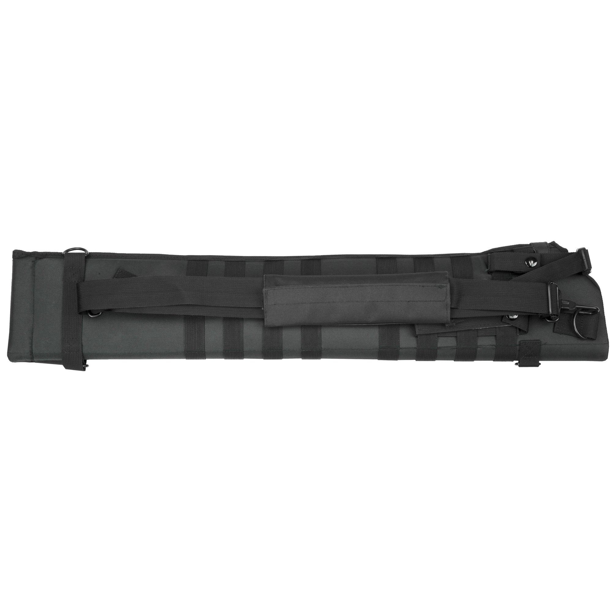 "The Tactical Shotgun Scabbard is designed for an easy"" comfortable"" and secure way of carrying a shotgun over the shoulder or for modular mounting onto MOLLE compatible gear."