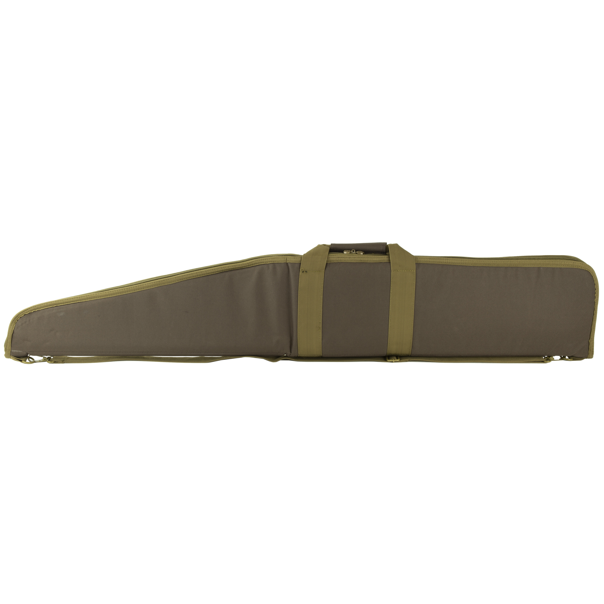 "The VISM Shotgun Case features a large exterior zippered compartment"" ID Tag pocket"" padded handle"" and an adjustable shoulder strap with metal clasp and D-rings."