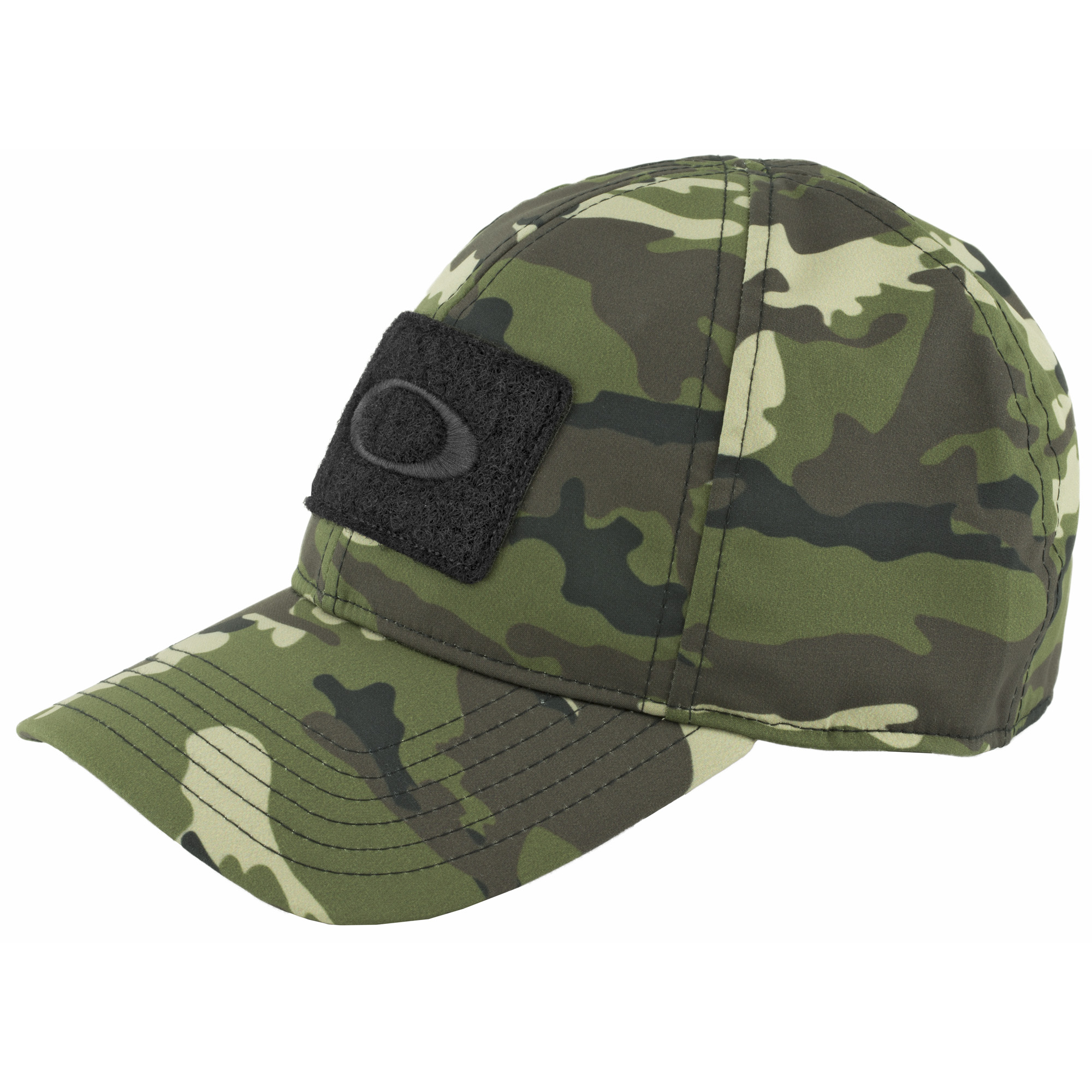 Stretch Fit Cap with hook and loop patch and embroidery at center front. 100% Polyester.