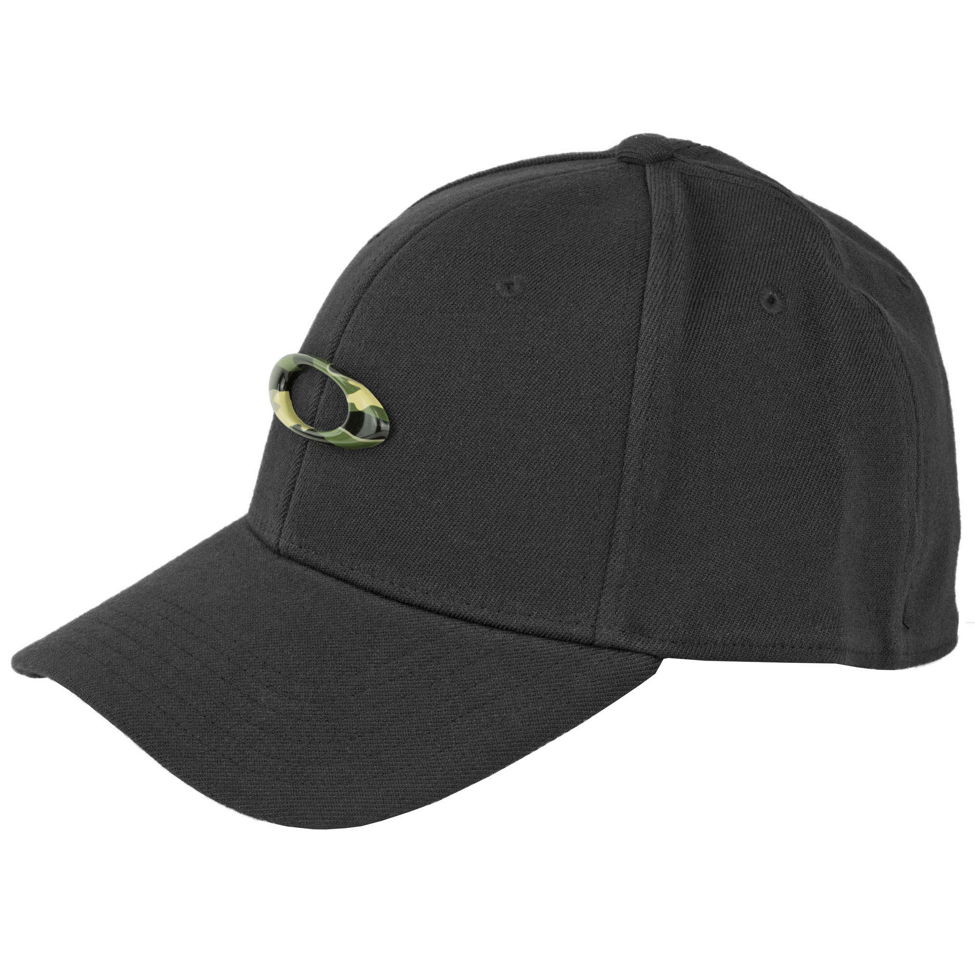"The Tincan Hat is made with a curved brim and moisture-wicking sweatband for a contoured fit and lasting comfort. Stretch fabric on a closed back provides a secure fit"" while a solid metal ellipse logo at the crown of this Oakley hat symbolizes the longevity of an icon."