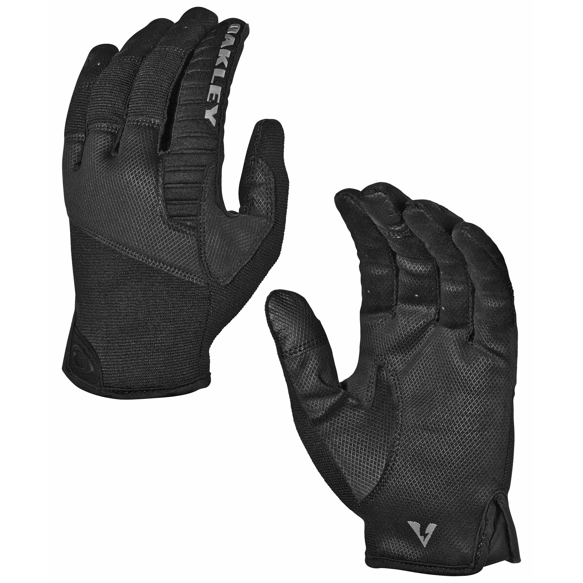 "The protective Factory Lite Tactical Gloves are built to withstand the rigors of any rough-and-tumble activity. The lightweight ribspan construction of these Oakley gloves combine with strategically placed suede and molded panels to provide comfort"" dexterity a barrier between you and equipment that can cause injury."