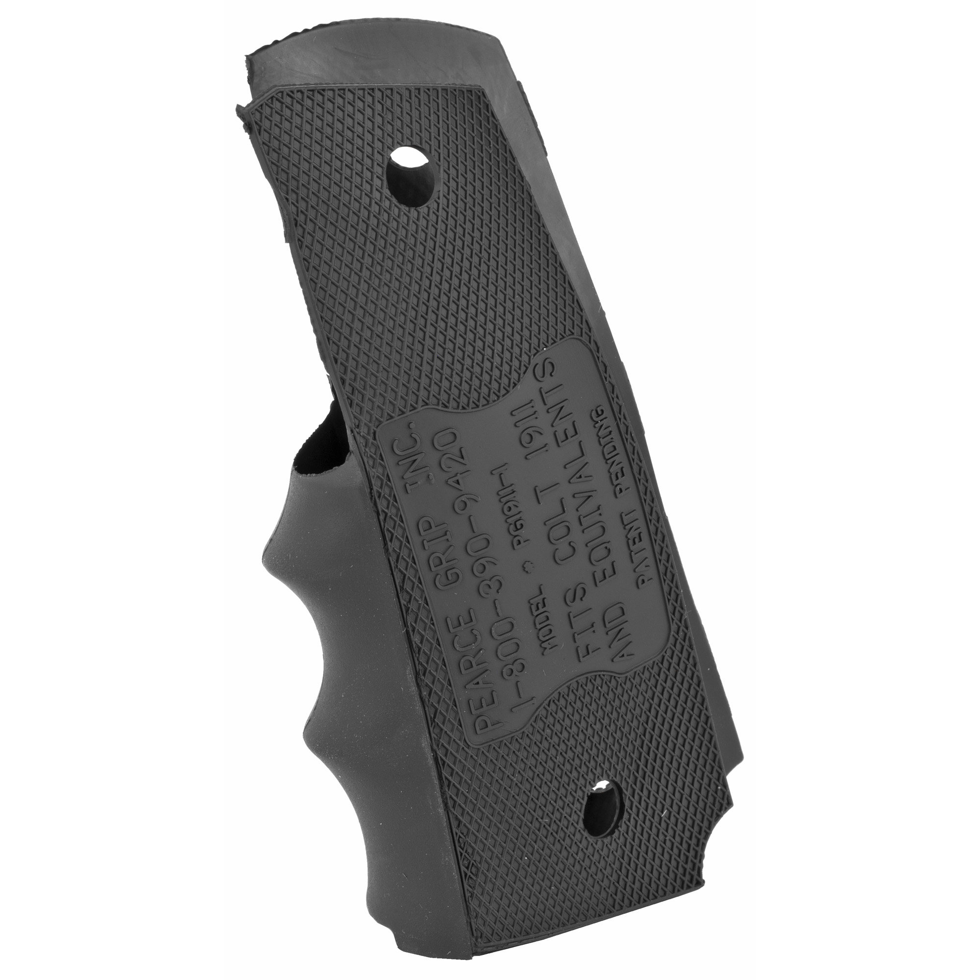 This product fits under any government model 1911 side panel grip adding rubber finger grooves for comfort and better handling.