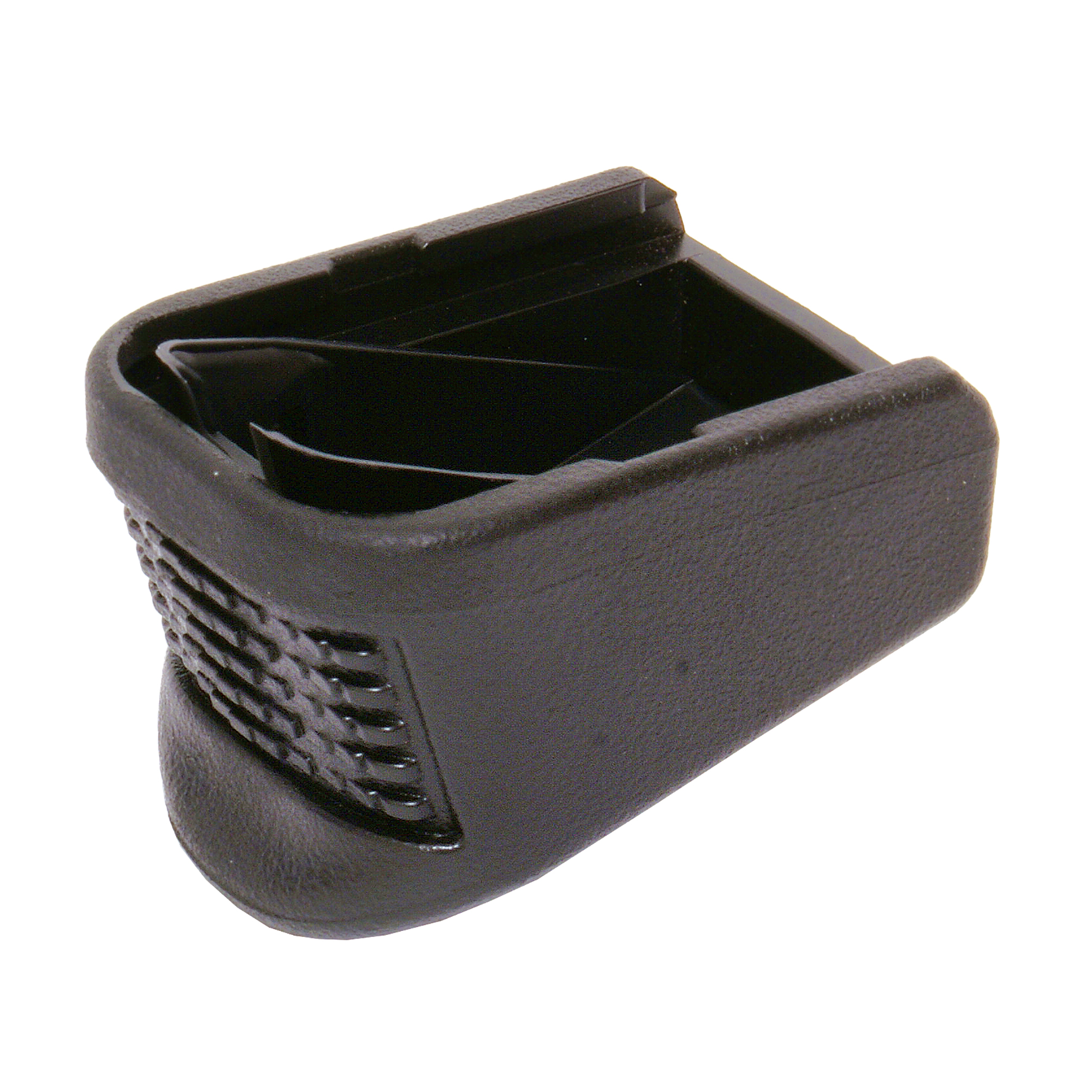 """This unit adds capacity to Mid and Full Size Glock high capacity magazines. This magazine extension replaces the original floor plate and internal locking plate and adds three rounds to a 9mm; two rounds to a 40SW and 357SIG"""" and one round to a 45GAP magazine."""