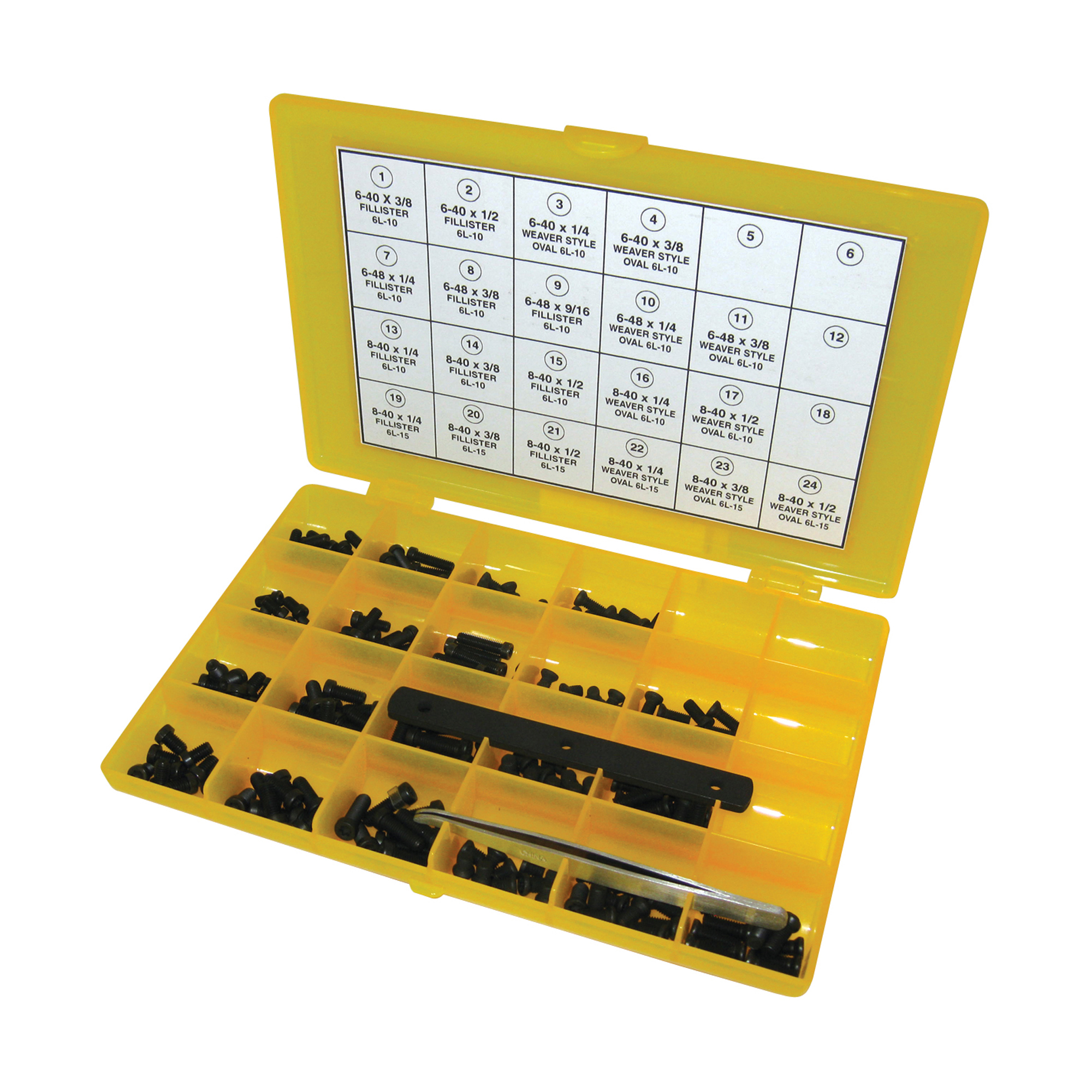"""These difficult to find screws are favored for their non-slip design. Packaged in a handy storage box with individual compartments for each size screw. Includes tweezers and a thread size gauge"""" which also doubles as a shortening jig used to grind a screw to a shorter length. Individual screws not available separately."""