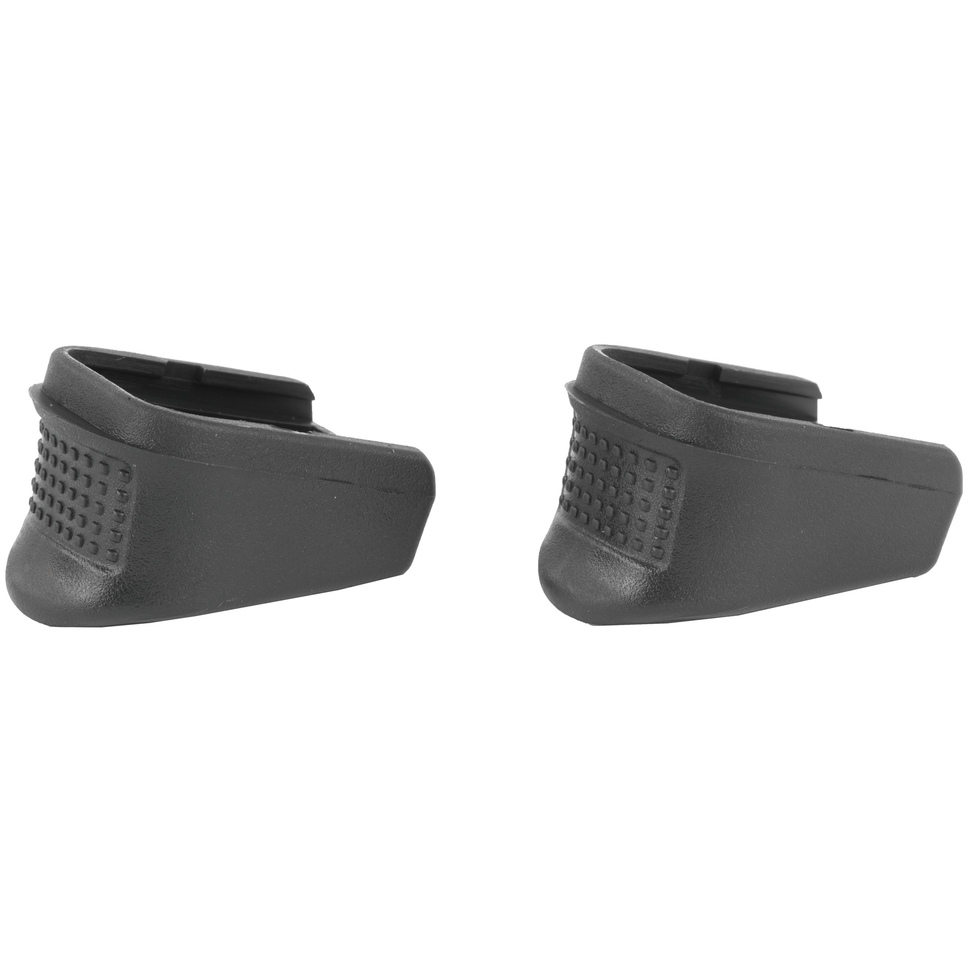 """Pachmayr's new Grip Extenders will greatly increase your control and shooting comfort when added to popular compact and sub-compact handguns. The extensions perfectly match the shape and texture of the handgun and they look like they are part of the pistol rather than an add-on. Extenders are easy to install and are made of tough"""" high strength polymer that stands up to the roughest handling. In addition"""" the Extenders come in a pack of two for a price similar to others on the market that only contain one."""