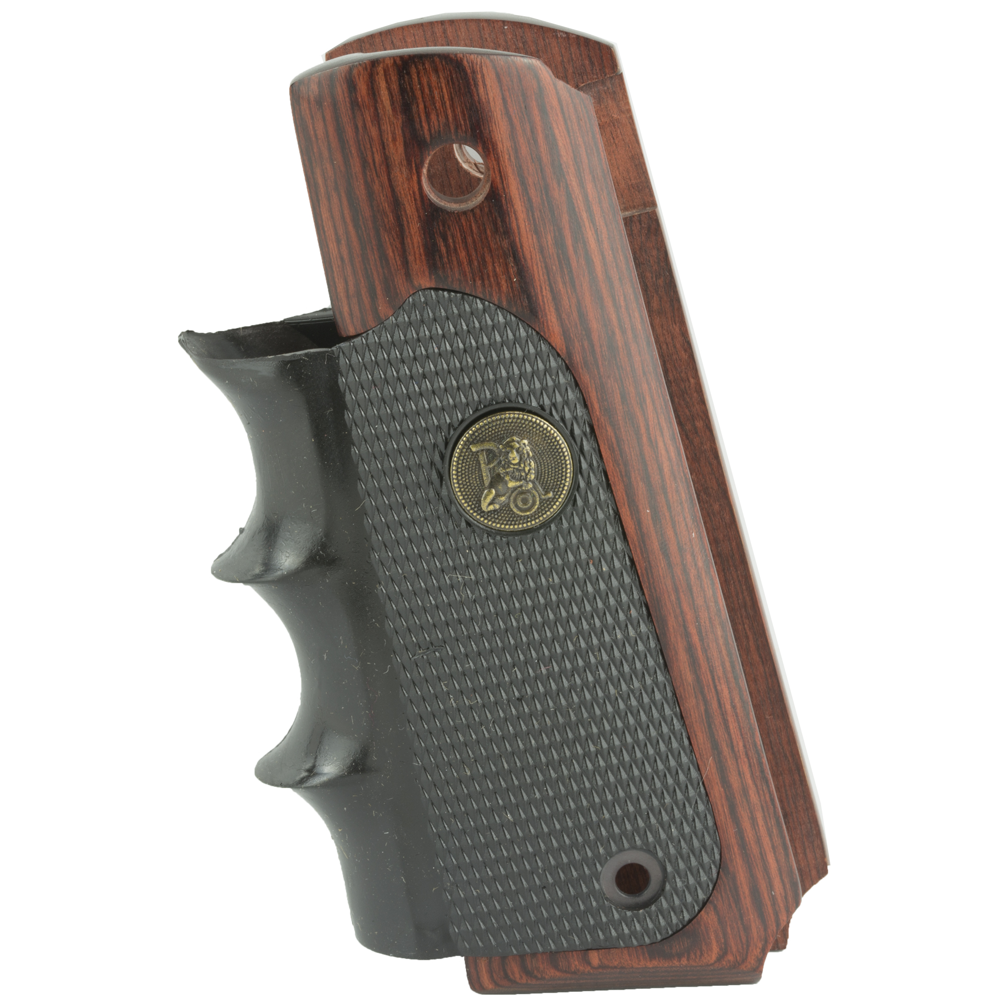 """These are the American Legend grip panels for the Colt 1911. Rugged"""" dual-material grips combine the appearance and feel of real wood with the control and handling benefits of rubber combat grips. Smooth grip panels of attractive Pacwood"""" a rosewood laminate with a durable satin-finish"""" have neatly beveled bottom edges with cutouts for mainspring housing pin. The insert of semi-soft Decelerator(R) neoprene rubber has sharp diamonds molded in the side panels for superior gripping surface"""" wet or dry"""" that won't bite into your hand. Deep"""" molded finger grooves on the frontstrap provide maximum control and comfort. For either right- or left-handed shooters"""" these grips will complement the finest accurizing job or combat alterations. Installation requires no alterations to gun."""