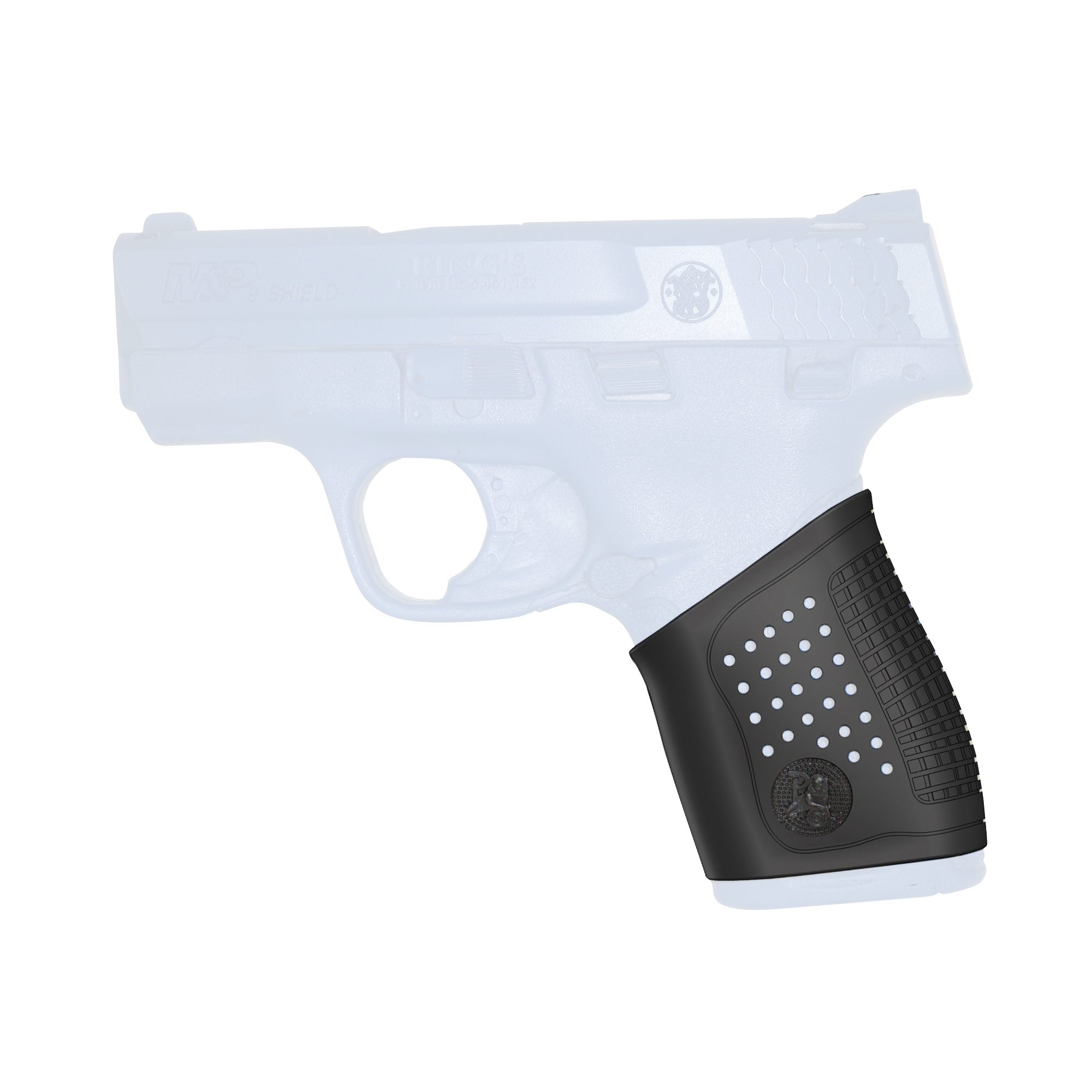 """Grip Gloves are custom molded for each pistol model. Ideal for polymer frame handguns with no replacement grips available. Made from Pachmayr Decelerator material"""" Grip Gloves deliver enhanced control and will absorb recoil for your semi-auto. The custom fit feels like an extension of your handgun grip. The ultra-soft"""" ultra-stretchy material makes installation a snap. No trimming"""" no need for soap and water. Distinctive ventilated side panels and finger grooves provide more instinctive gun orientation and a professional look."""