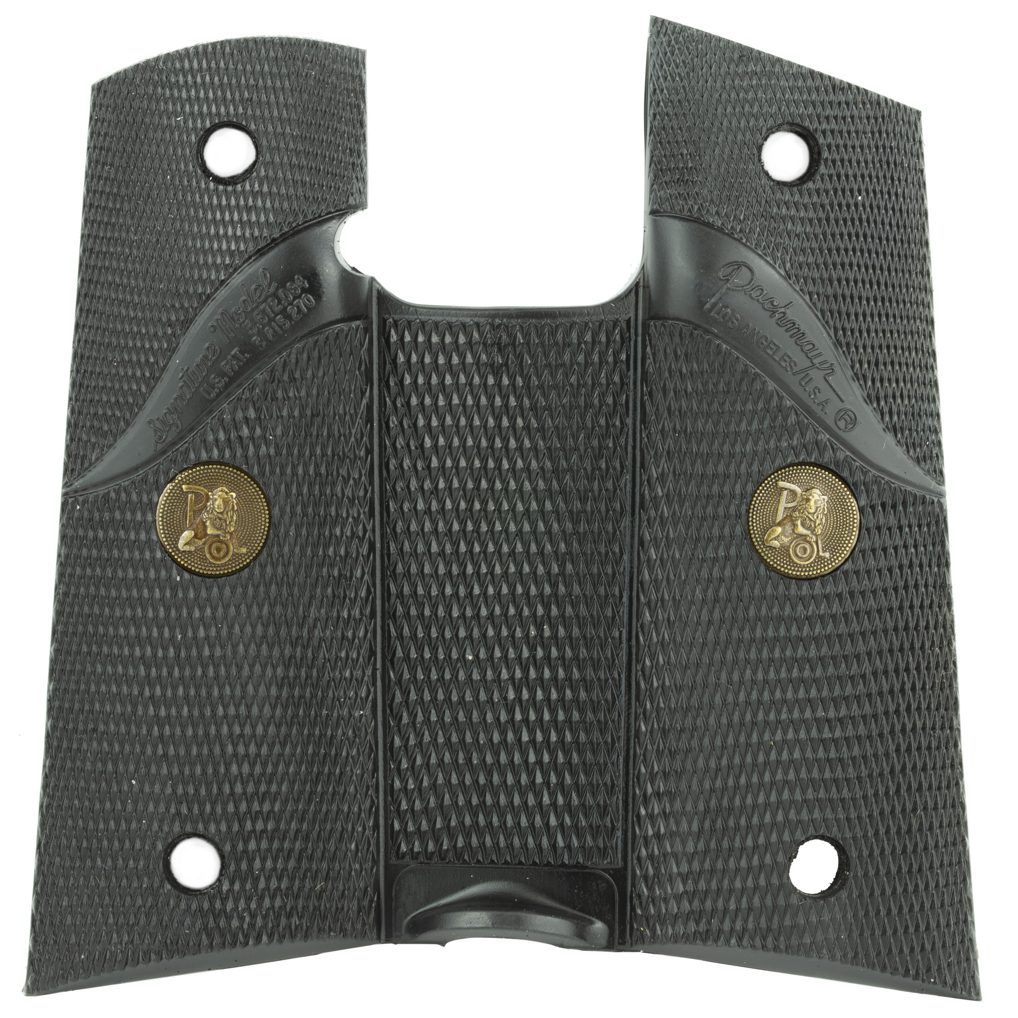 Pachmayr Signature grips feature a wraparound design and are made from rubber specially formulated for use on semi-automatic handguns. They are supplied without backstraps to be used on handguns like the 1911 model that utilizes a grip safety mechanism. Screws not included.