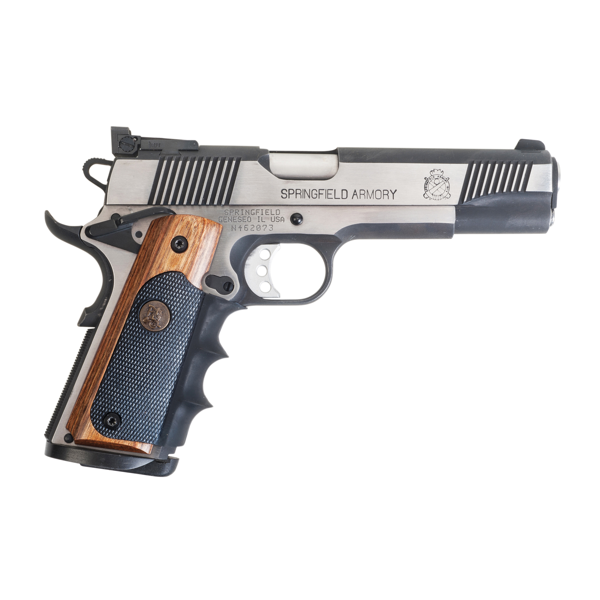 """With proven recoil absorbing rubber panels"""" comfortable finger grooves and attractive wood trim"""" Pachmayr's popular American Legend Grips now offer a range of colors. Choose Rosewood"""" Charcoal Silvertone"""" or Heritage Walnut laminate. Each semi auto grip features the popular American Legend wraparound design with relief cuts for ambidextrous safeties and mainspring housing pin cut-out."""