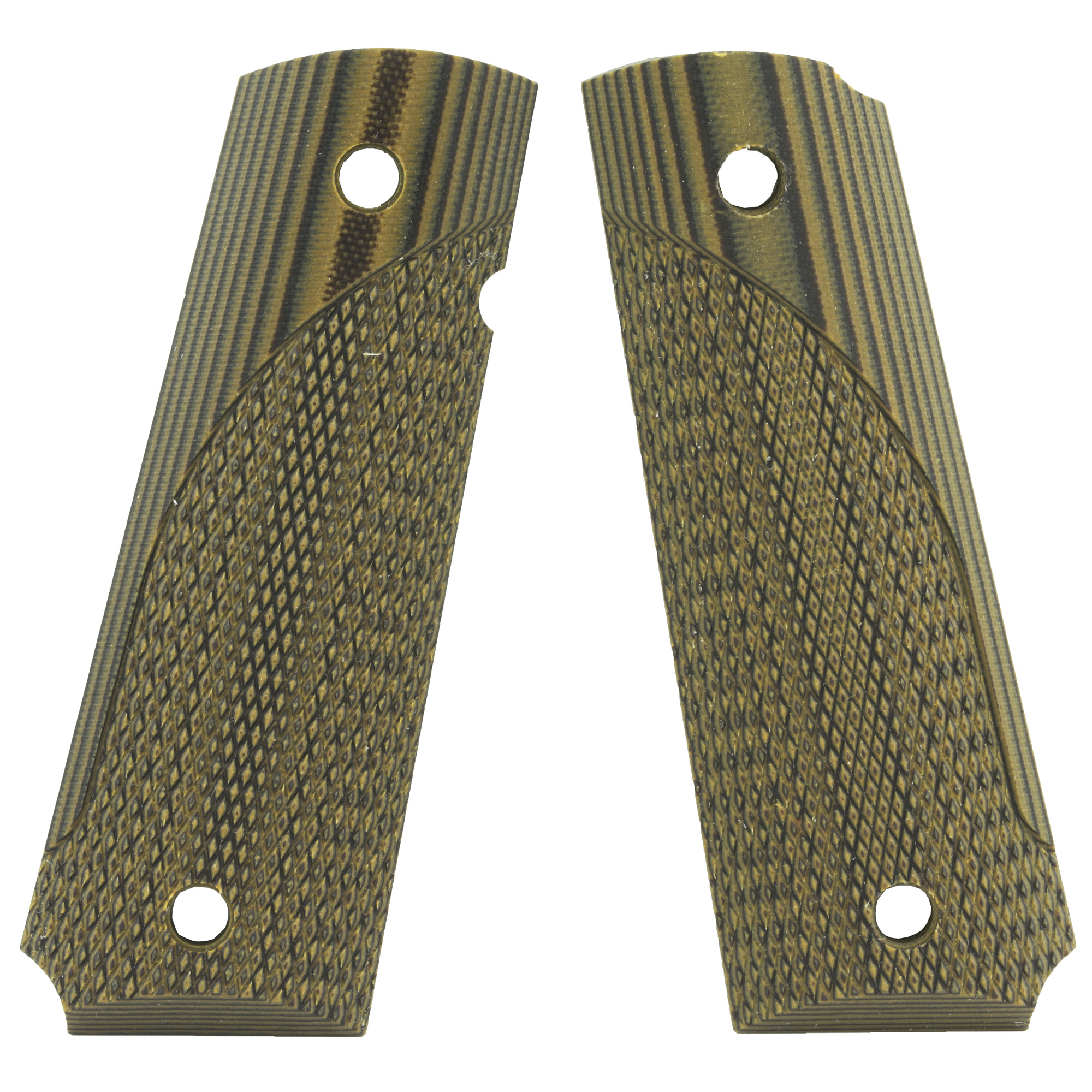 """G-10 material is a fiberglass based epoxy resin laminate. It is an extremely tough and durable material that is impervious to moisture"""" weather or chemicals"""" making it a perfect material for handgun grips. The multiple layered construction allows the use of different colors to be added to the semi-auto grips"""" creating attractive patterns as it is machined. Their Pachmayr G-10 Tactical pistol grips are available in two textures"""" their coarse Grappler pattern or fine checkered"""" and two color patterns"""" green/black and grey/black."""