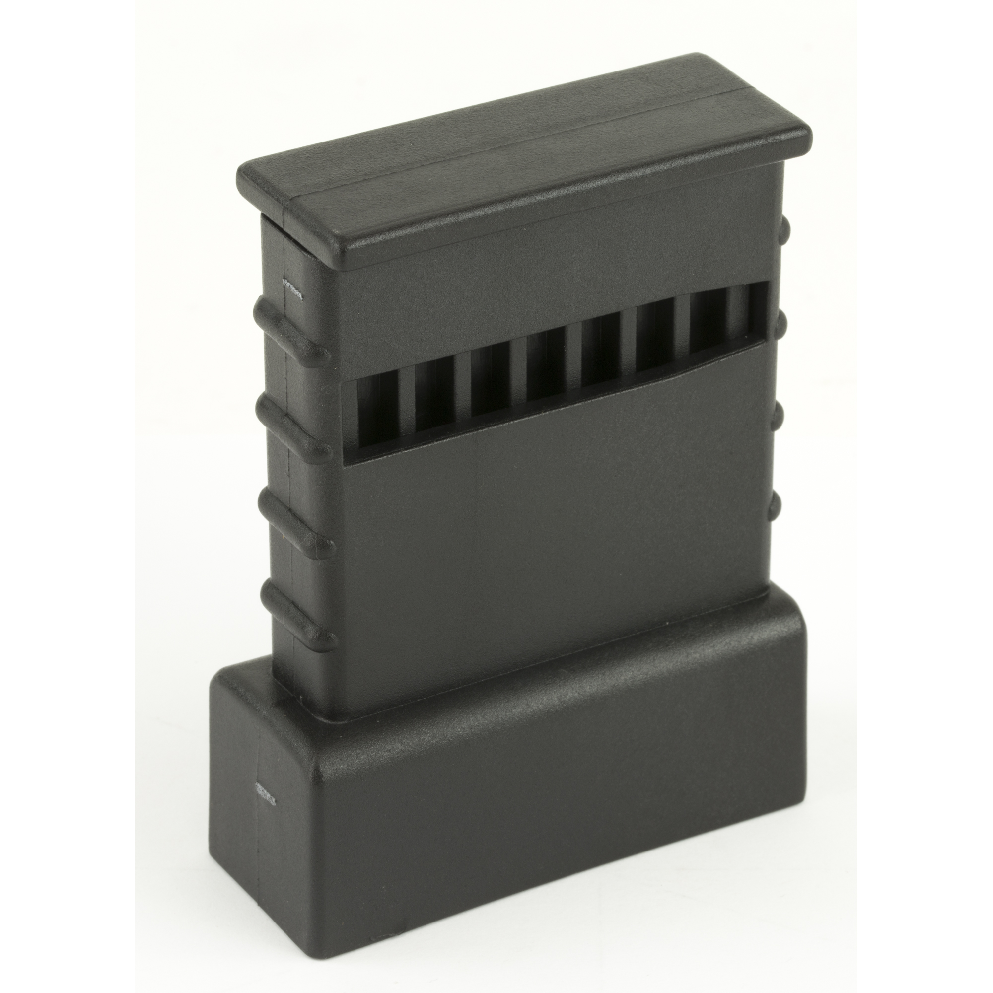 This magazine loader was originally designed to load the (100) Rd .223 / 5.56 BETA magazine. The loader is slipped over any AR-15(R) / M16 .223 / 5.56 type magazine. Five cartridges are dropped in and loaded by depressing the plunger. The process is repeated until the magazine is loaded. Constructed of injection molded black polymer.