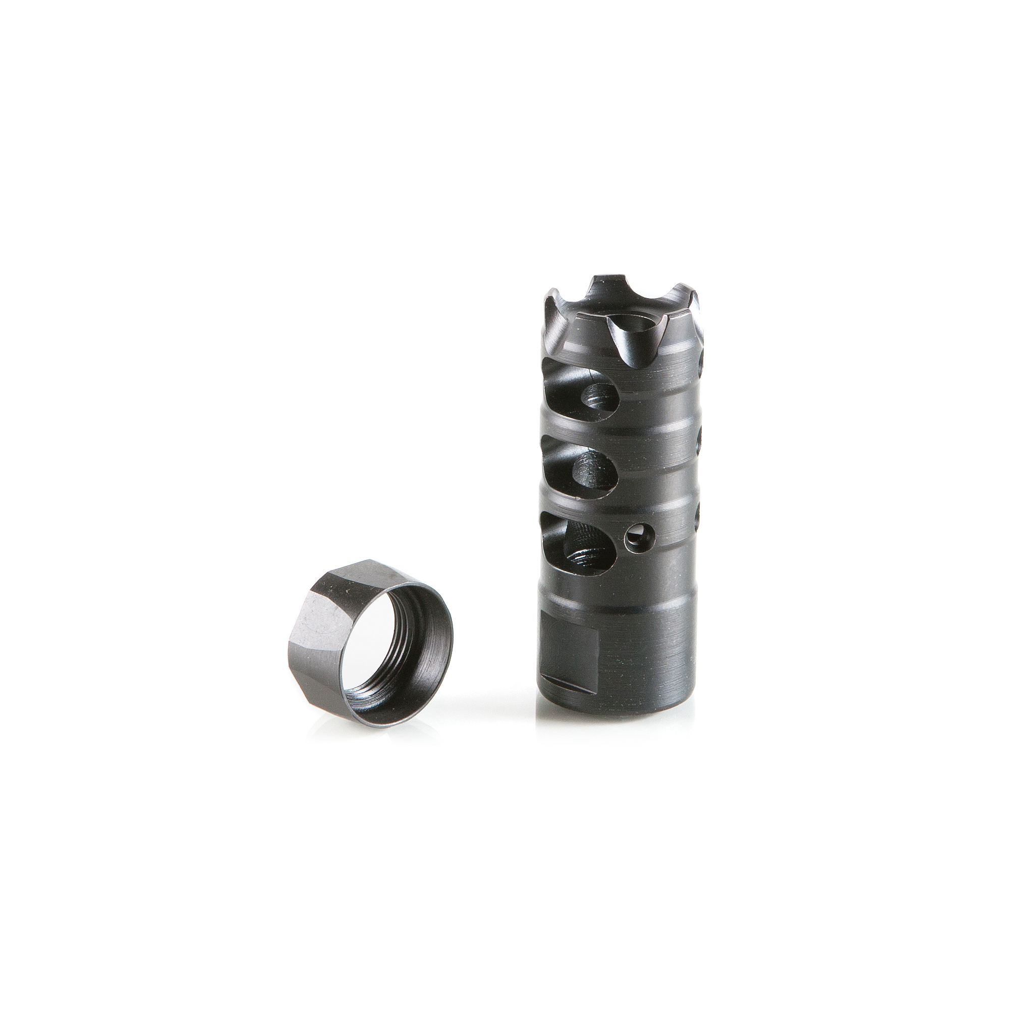 Designed by POF this nitride heat treated muzzle brake controls muzzle impulse for ultimate accuracy and an unbelievably soft recoil. Comes complete with a nitride heat treated collar and five (5) strike prongs.