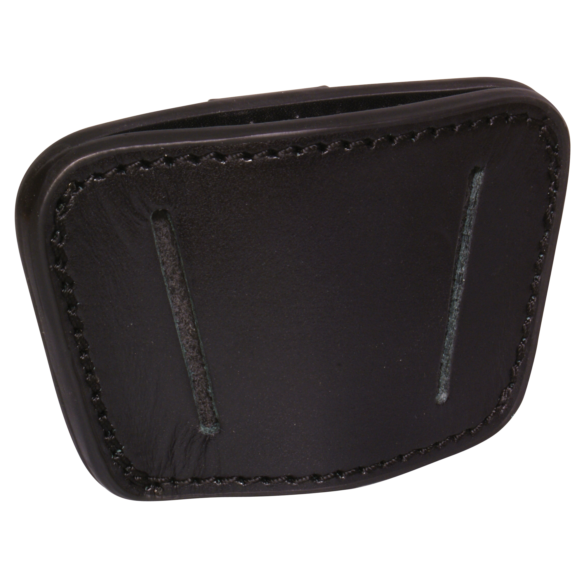 """Black Ambidextrous belt slide holster in genuine high-grade leather. Fits medium to large frame autos handguns: Glock"""" Sig"""" Beretta"""" S&W Autos - 9mm. 45 Autos and 1911. Slots to fit up to 1-3/4 inch belt with removable clip for wearing inside or outside waistband right or left or in the small of your back. Comes with belt loops and a removable clip."""
