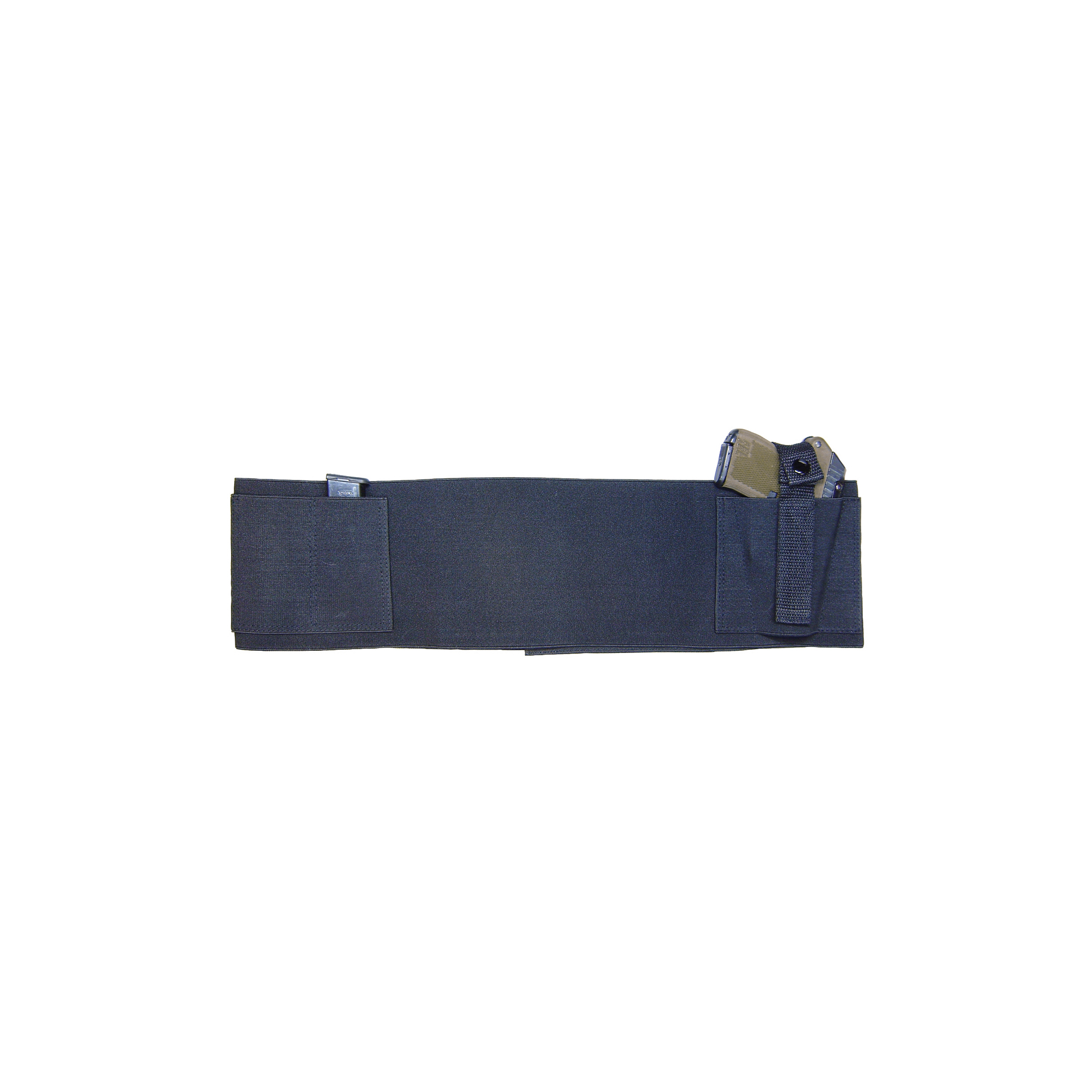 Waist wrap holster. Heavy duty elastic with secure Velcro closure and extra mag pockets.