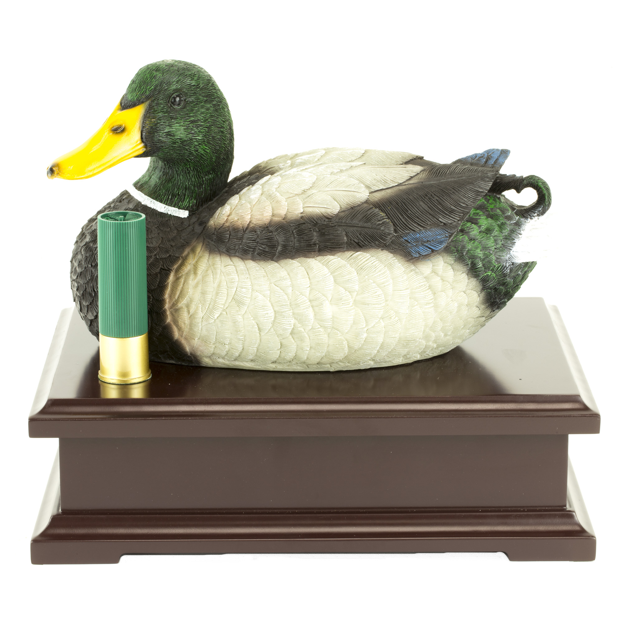 Beautiful Hand Painted Duck Decoy on a Cherry Finish Wood Base. Features shell style magnet to release the inside lock.
