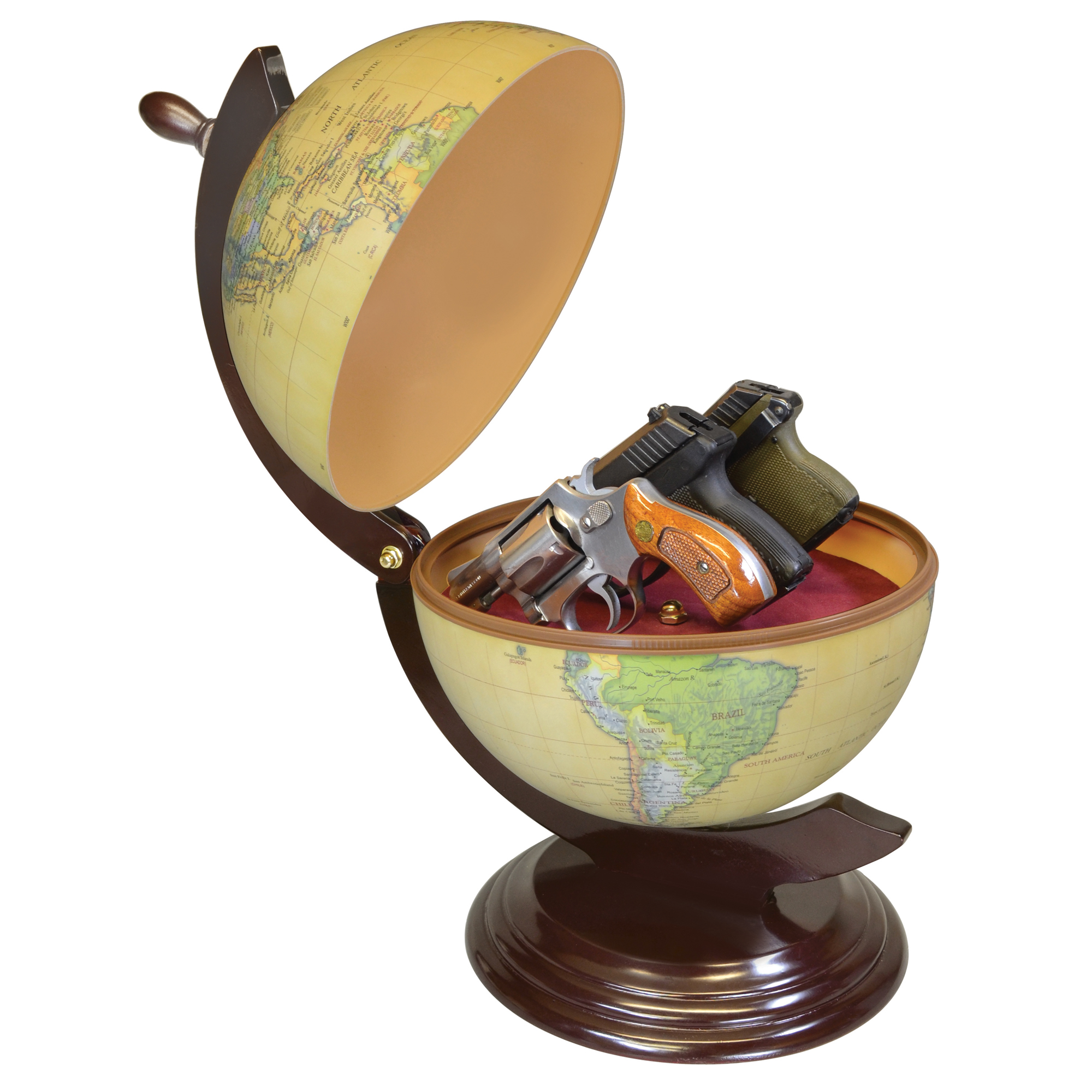 """The Concealment Gun Globe features 3 adjustable vinyl-coated rods to hold your gun securely. It has room for magazines or other valuables and an Inside diameter of 9 1/4"""" holds up to 3 small-medium handguns."""