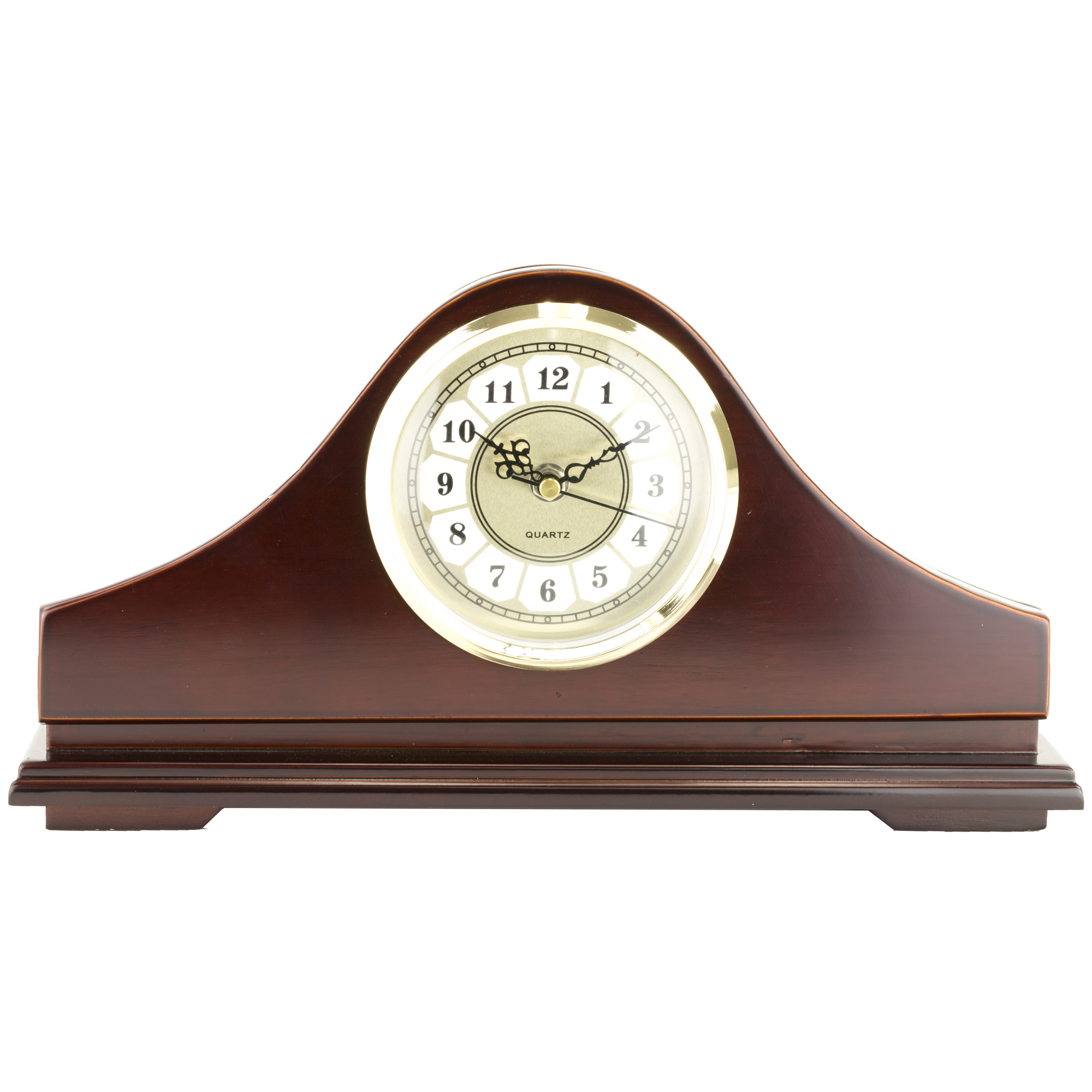 """The Gun Concealment Clock is made of solid wood and has a rich mahogany stain. It features a magnetically latched"""" hinged front panel and holds a small or large handgun."""