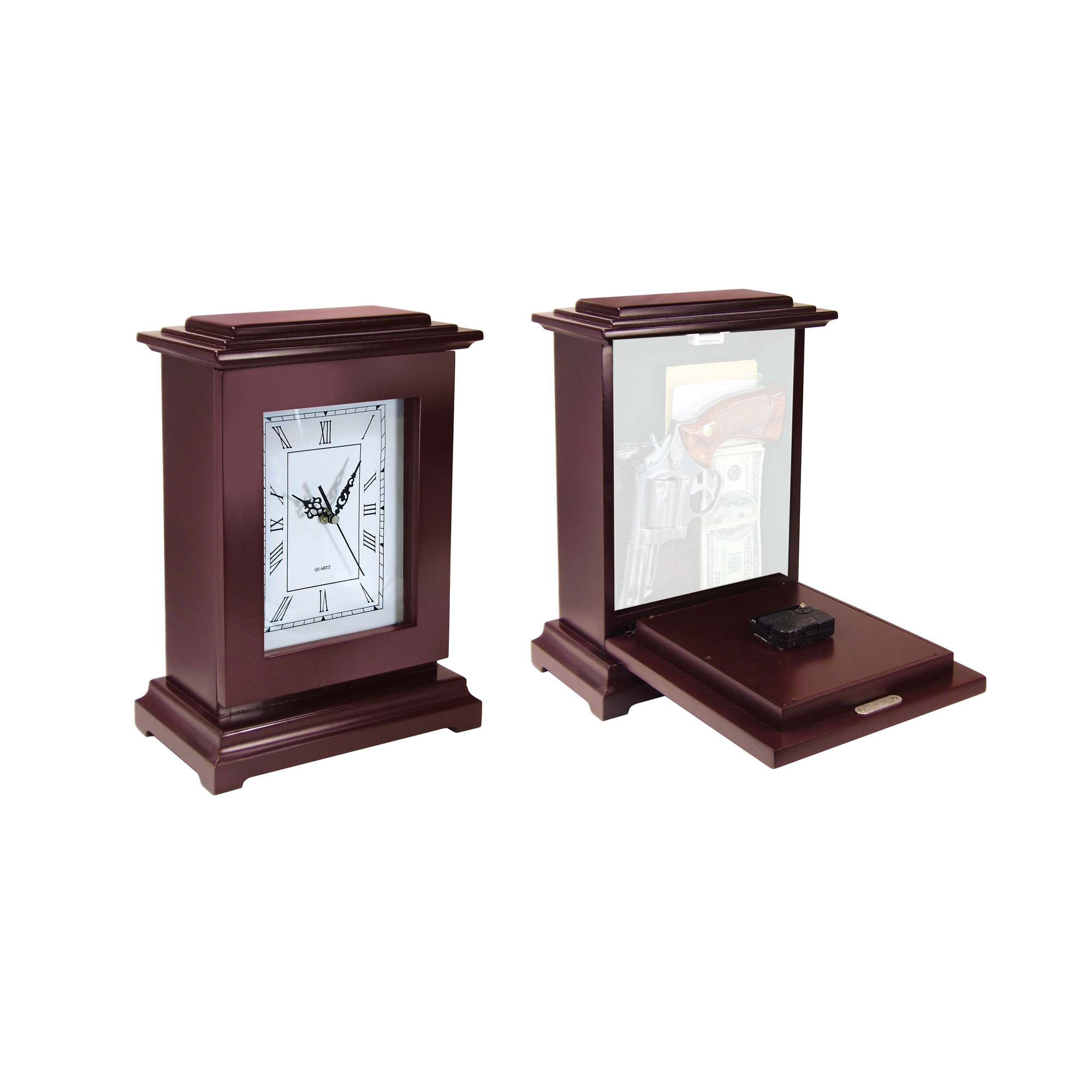 """This Gun Concealment Clock features solid wood construction and a magnetically latched"""" hinged front panel. Holds a large handgun and other valuables."""