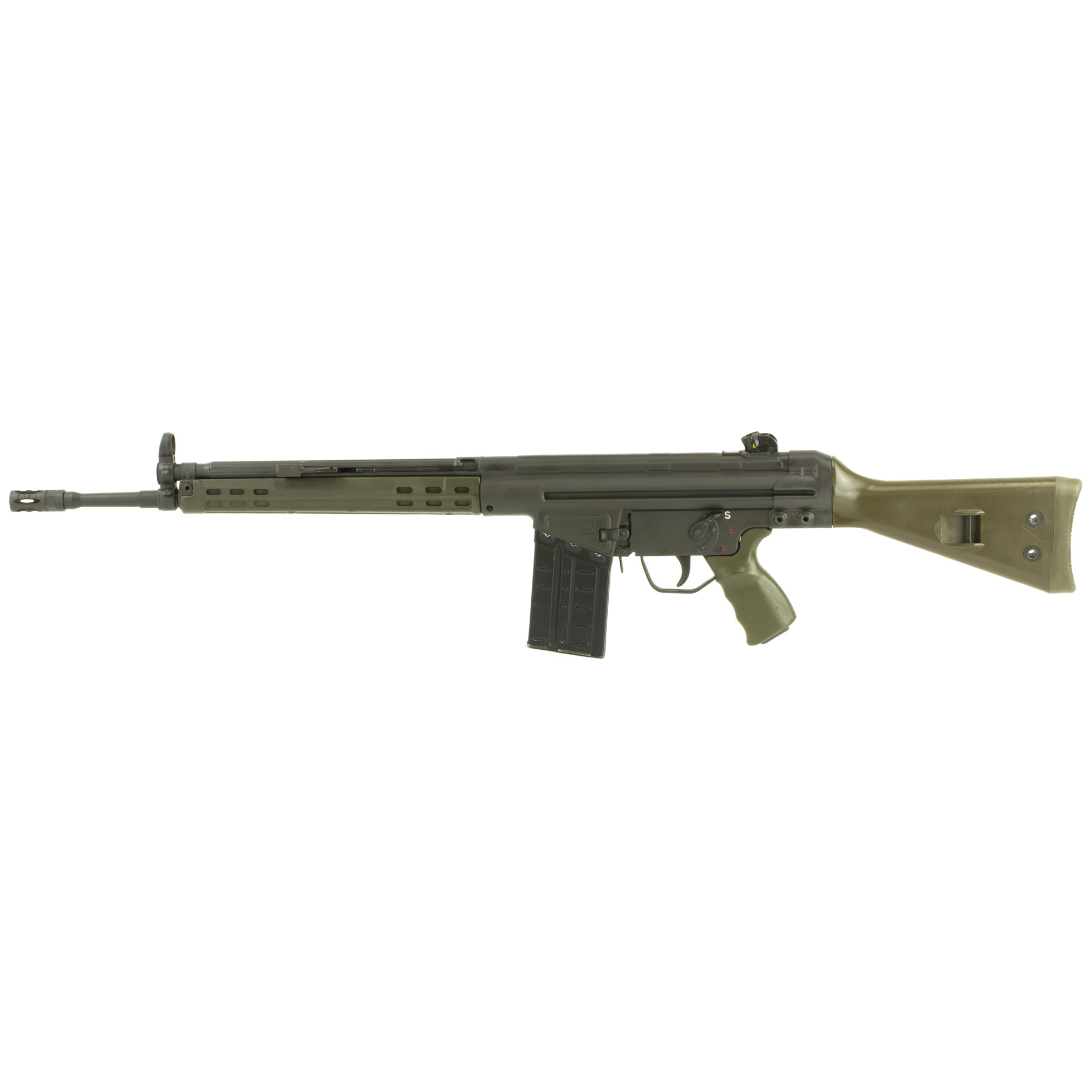 """The GI rifle features a Parkerized finish with classic green furniture"""" 18"""" tapered barrel and a classic """"SEF"""" steel lower. The removal of the precision-welded top rail allows the use of original claw mounts and carry handles."""
