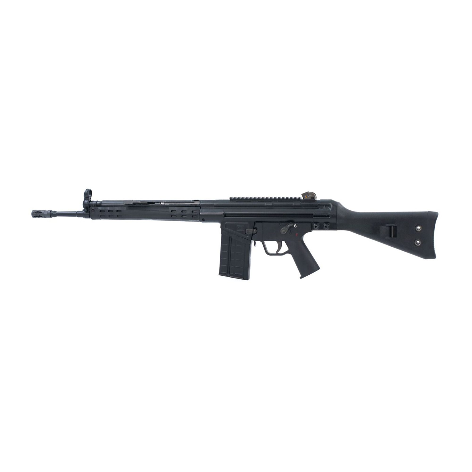 """The A3S rifle features a black powdercoat finish"""" black polymer furniture"""" 18"""" tapered barrel and polymer navy lower. The precision-welded top rail allows the addition of your favorite scope or you can use the traditional iron sights (included)."""