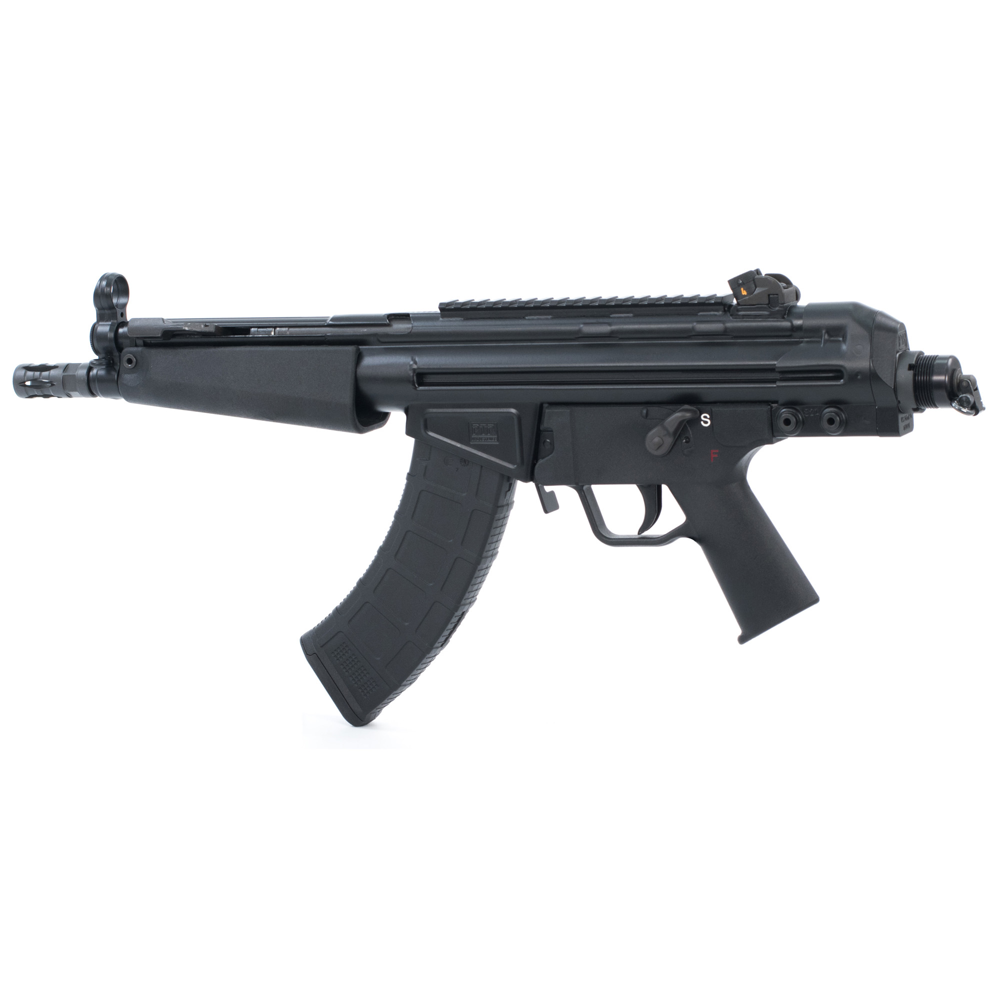 """The 32P pistol features a classic style polymer handguard with an 8.5"""" bull barrel. The precision-welded top rail allows the addition of your favorite optic or use the traditional iron sights (included). The end cap is compatible with M4 buffer tubes or the included swivel end adapter. Includes one 30-round magazine."""