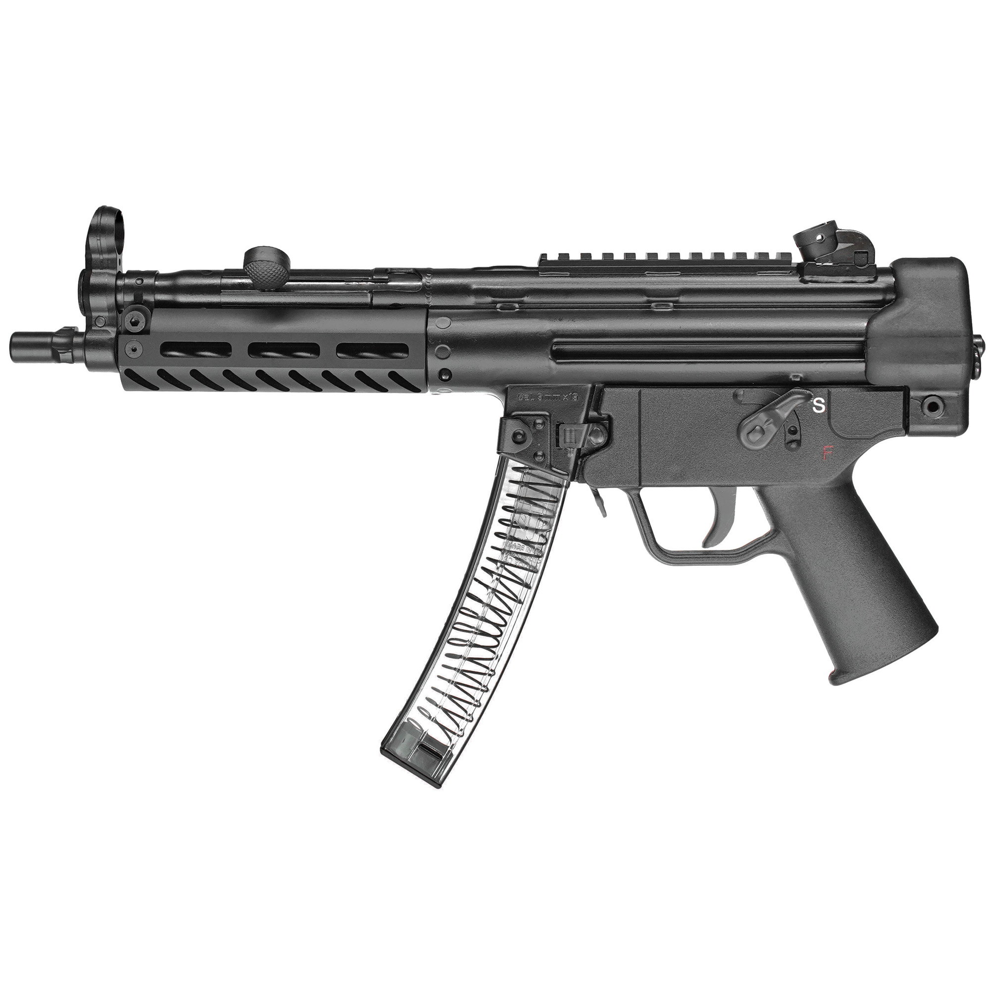 """The 9C model features an M-LOK compatible aluminum handguard and nitride treated 8.86"""""""" 3-lug barrel. Both a push button and paddle style magazine release are standard. The 4.5"""" precision-welded top rail enables use of your favorite optic or the traditional iron sights (included). The polymer end cap with swivel adapter provides a sling attachment point. The gun ships in a heavy duty range case with: single point bungee sling"""" two 30-round magazines and rear sight adjustment tool."""