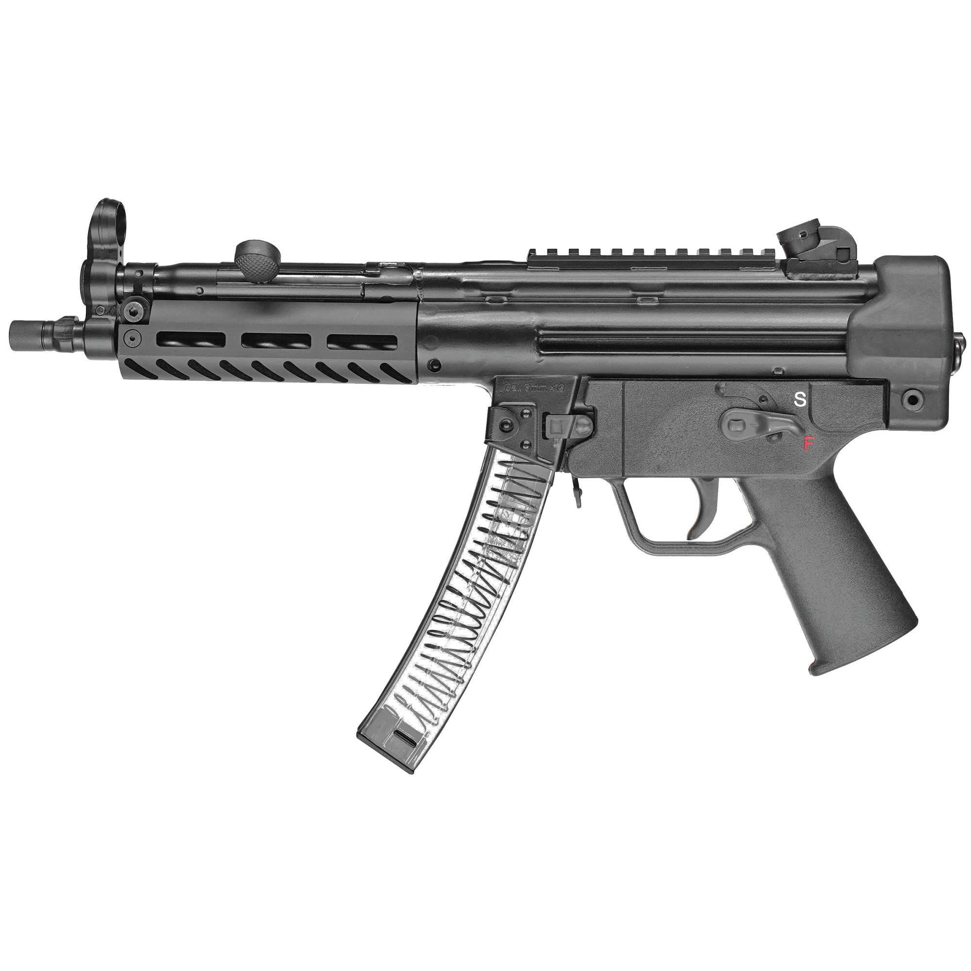 """The 9CT model features an M-LOK compatible aluminum handguard. The nitride treated 8.86"""" 3-lug barrel is threaded to 1/2 x 28. Both a push button and paddle magazine release are standard. The 4.5"""" precision-welded top rail enables use of your favorite optic or the traditional iron sights (included). The polymer end cap with swivel adapter provides a sling attachment point. The gun ships in a heavy duty range case with: single point bungee sling"""" two 30-round magazines and rear sight adjustment tool."""