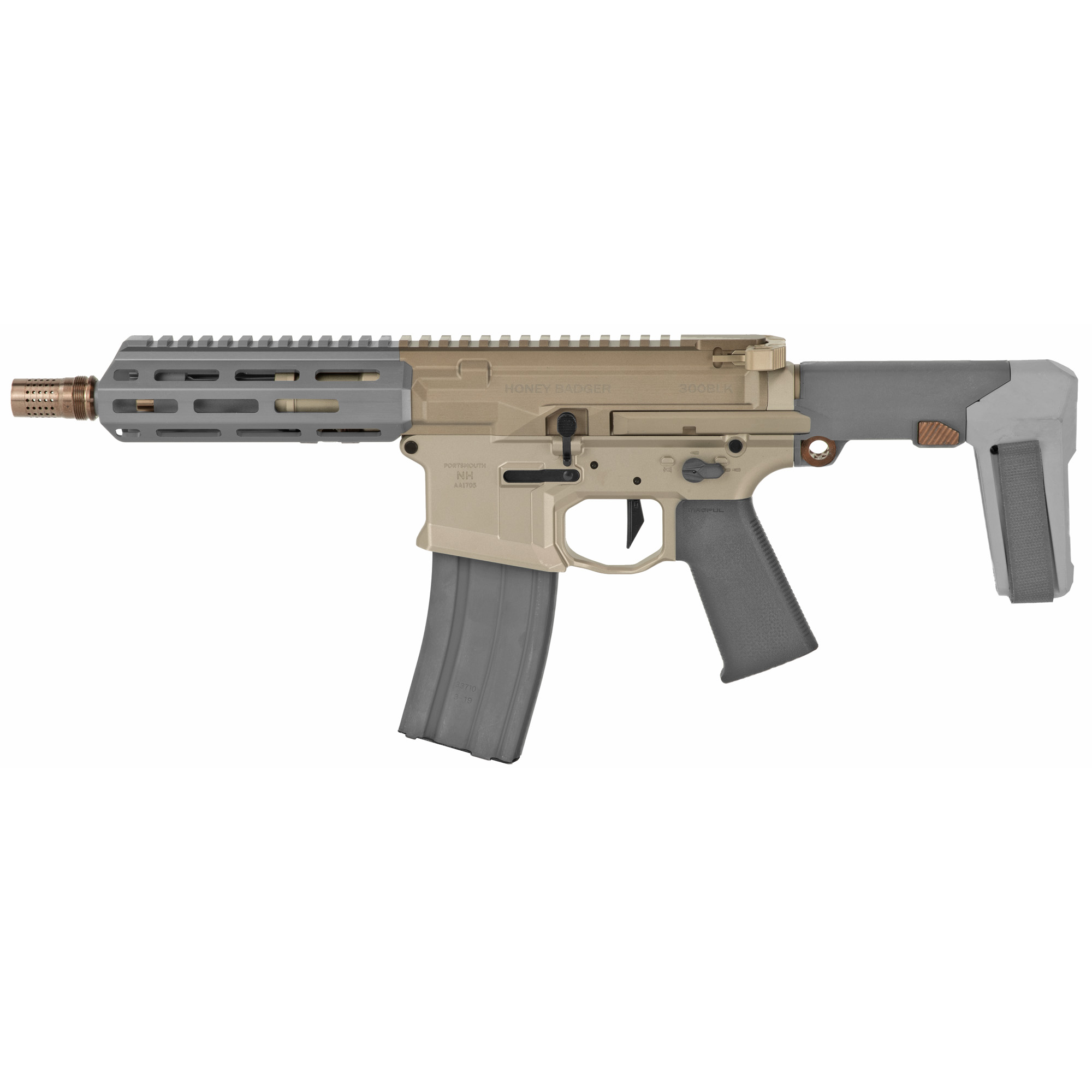 """The original Honey Badger was developed at AAC by previous owner and Q CEO"""" Kevin Brittingham and his R&D team at the request of an elite US special operations group looking to replace their MP5-SD's with an upgraded platform. Requirements included the ability to shoot a rifle caliber round while maintaining low visibility and excellent signature suppression. Developed in conjunction with 300 AAC Blackout"""" the Honey Badger was born"""" exceeded expectations"""" but never made it to the commercial market. Enter the Honey Badger by Q. At first glance"""" this Honey Badger appears to be the same as the original. Q focused on taking the iconic 'Badger to the next level and improved upon every technical aspect of the first-generation design. From the gas system to the trigger"""" and telescoping pistol brace - HB 2.0 does not disappoint."""