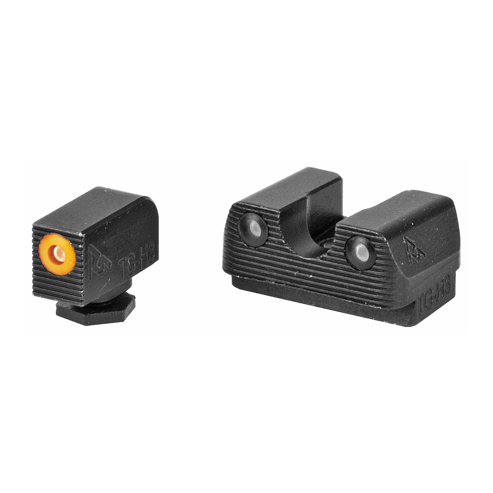 "RIVAL ARMS Tritium Night Sights. Fits Glock 17/19. Green Tritium w/Orange Outline Front"" Green Rear."
