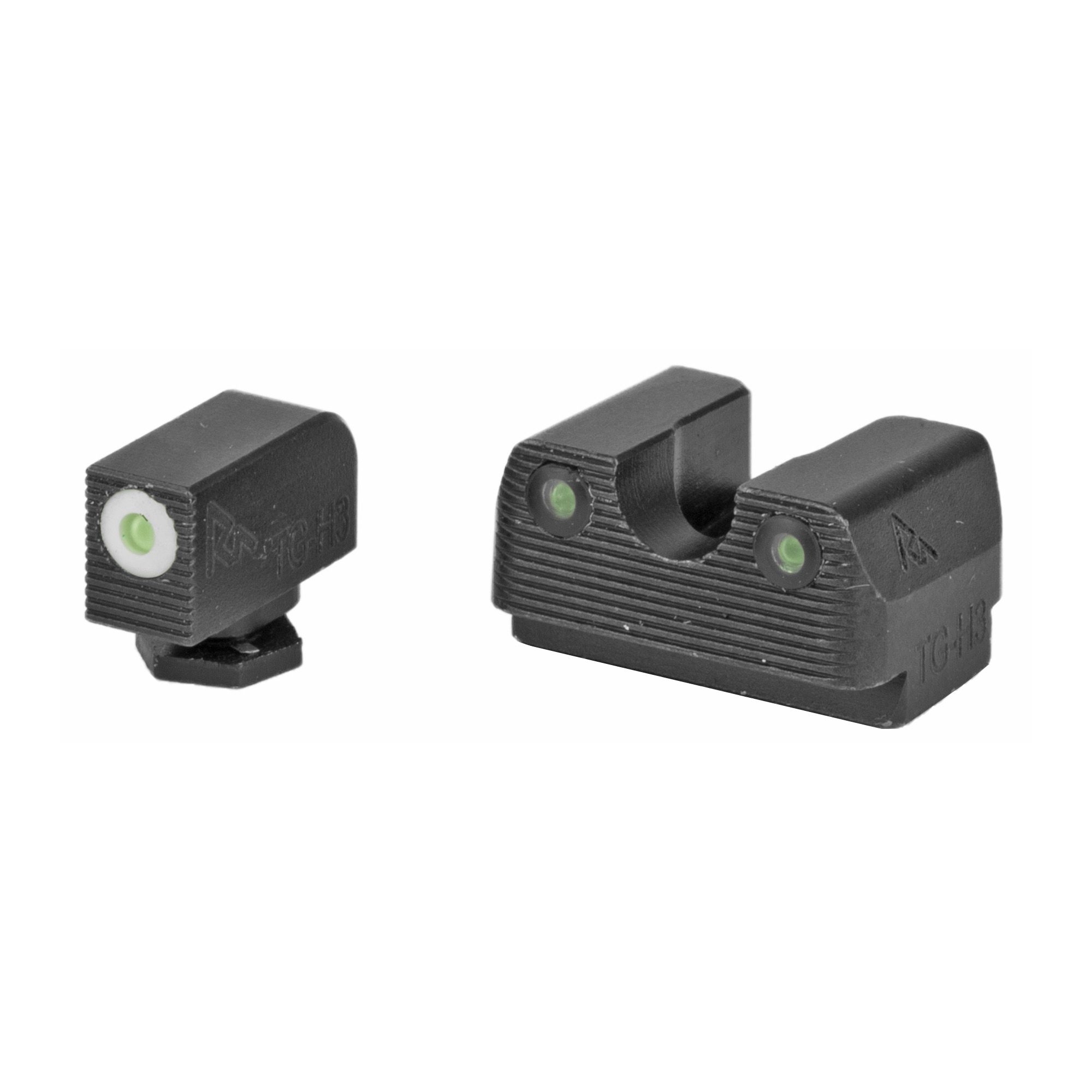 "RIVAL ARMS Tritium Night Sights. Fits Glock 17/19. Green Tritium w/White Outline Front"" Green Rear."