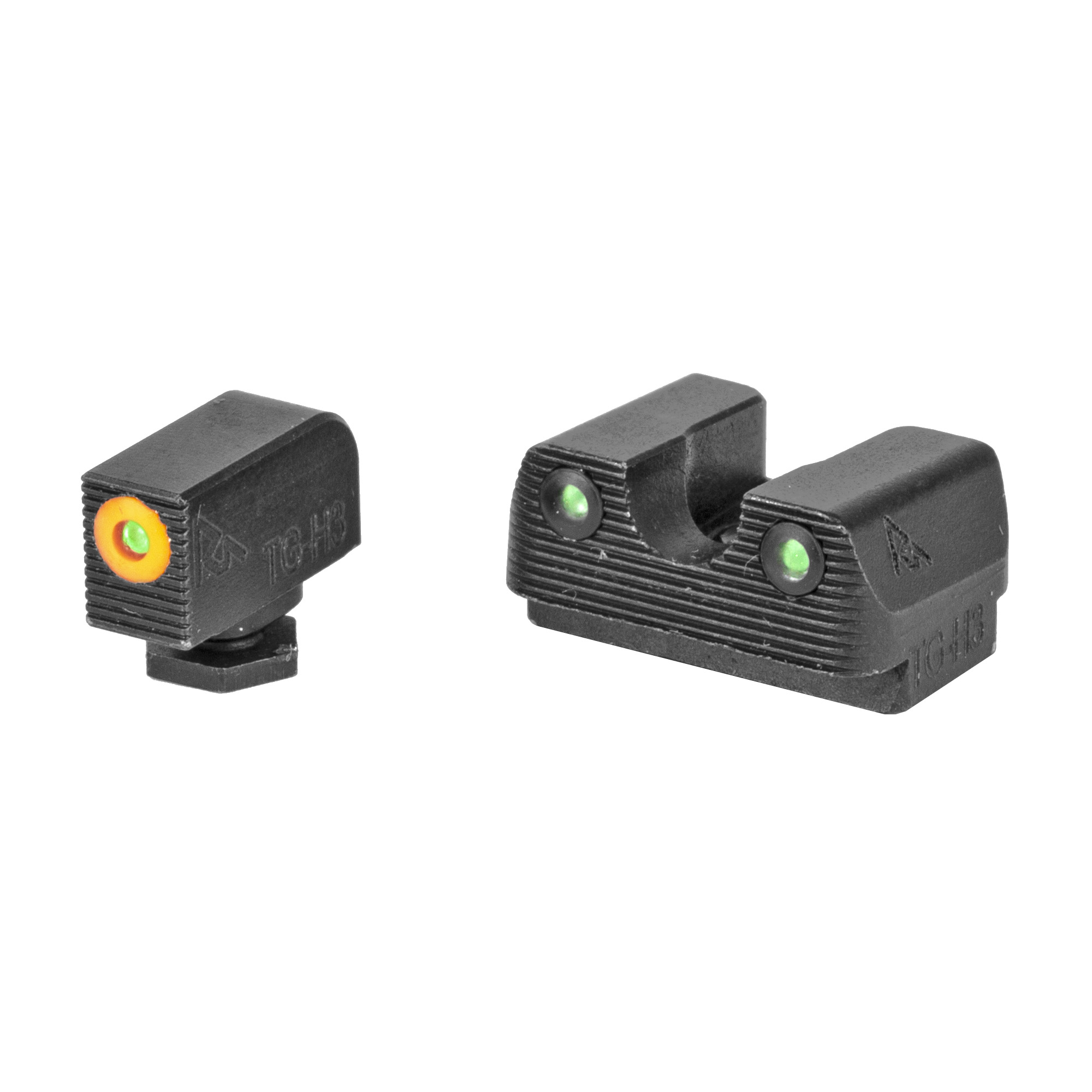"RIVAL ARMS Tritium Night Sights. Fits Glock 42/43. Green Tritium w/Orange Outline Front"" Green Rear."