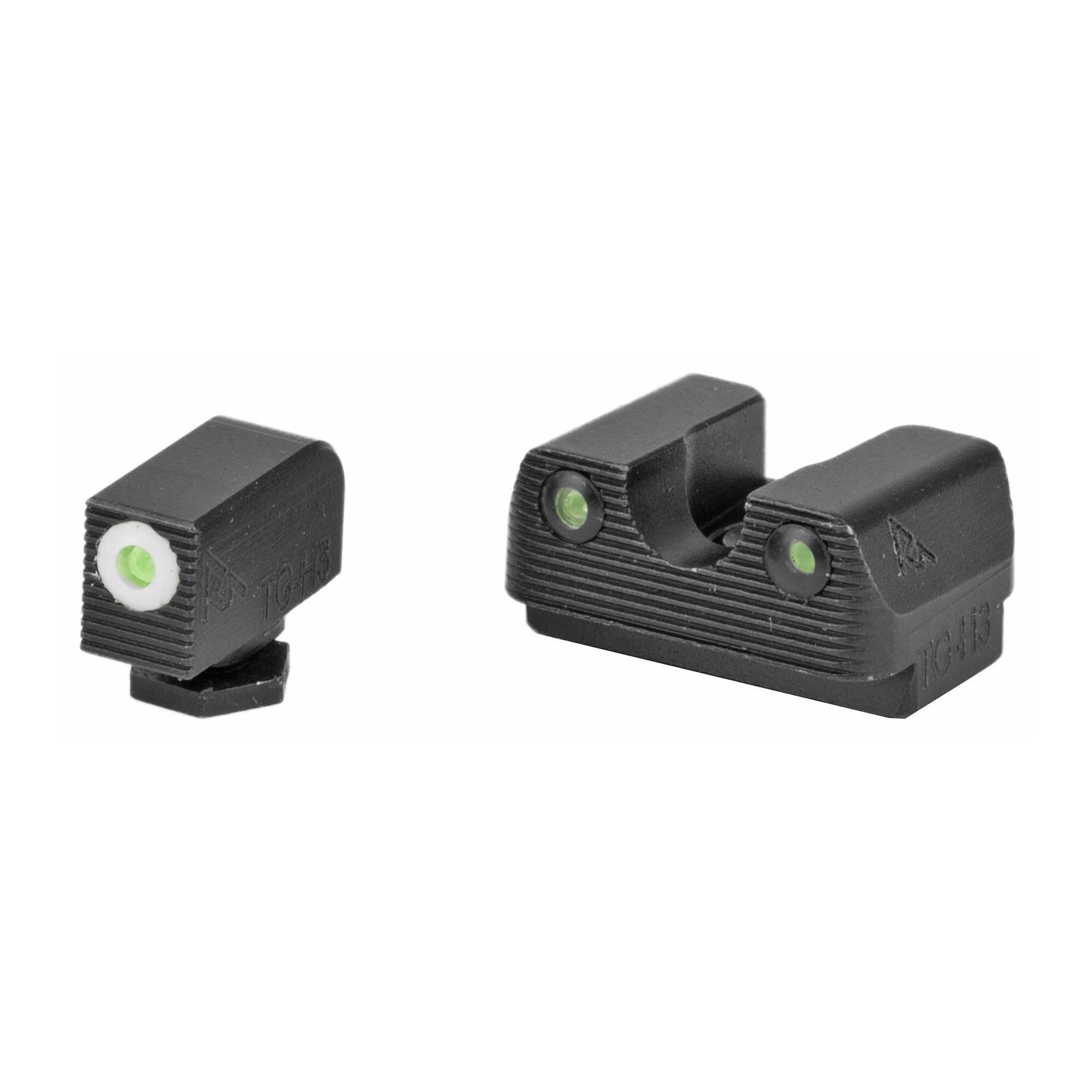 "RIVAL ARMS Tritium Night Sights. Fits Glock 42/43. Green Tritium w/White Outline Front"" Green Rear."