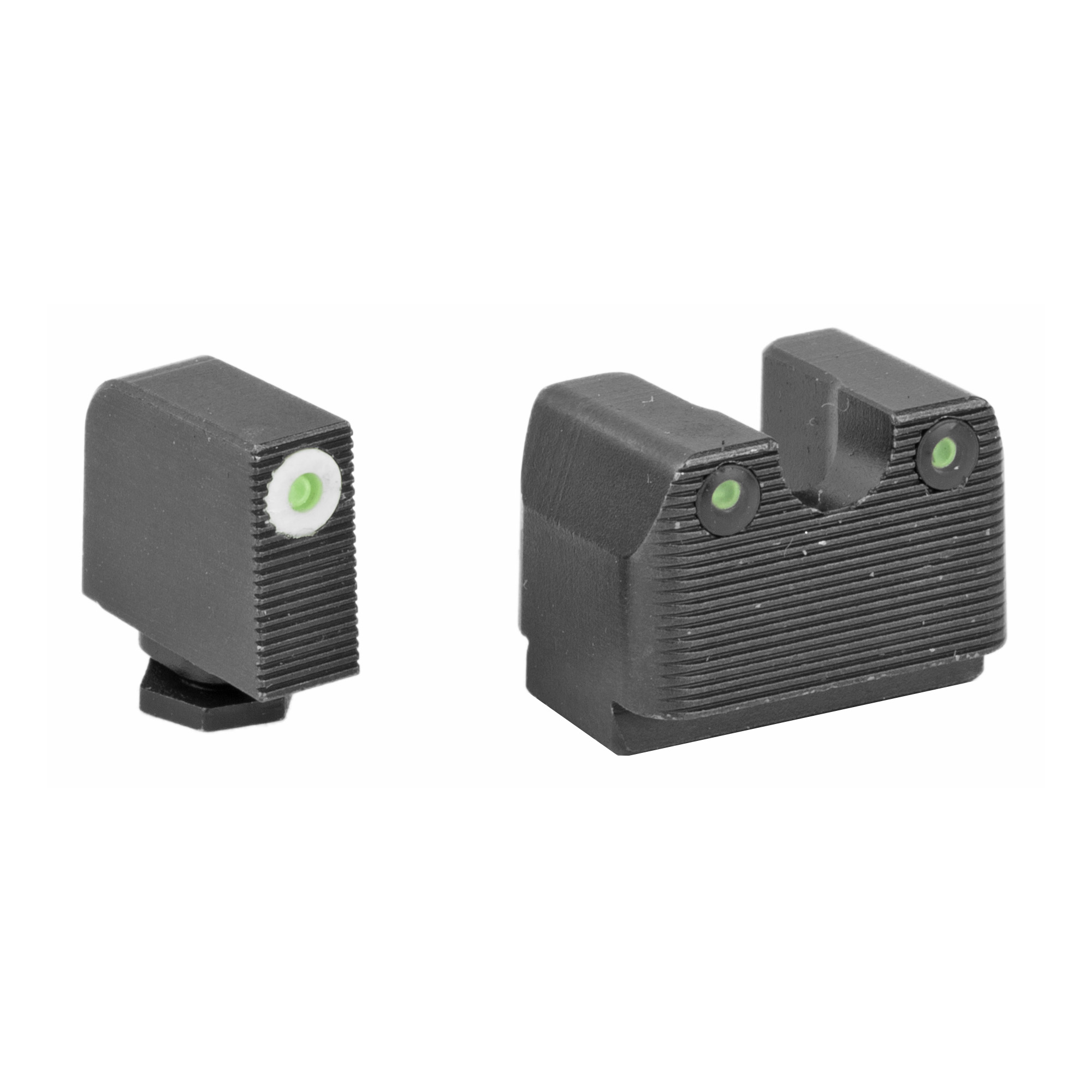 "RIVAL ARMS Tritium Night Sights. Fits Glock MOS 17/19. Green Tritium w/White Outline Front"" Green Rear."