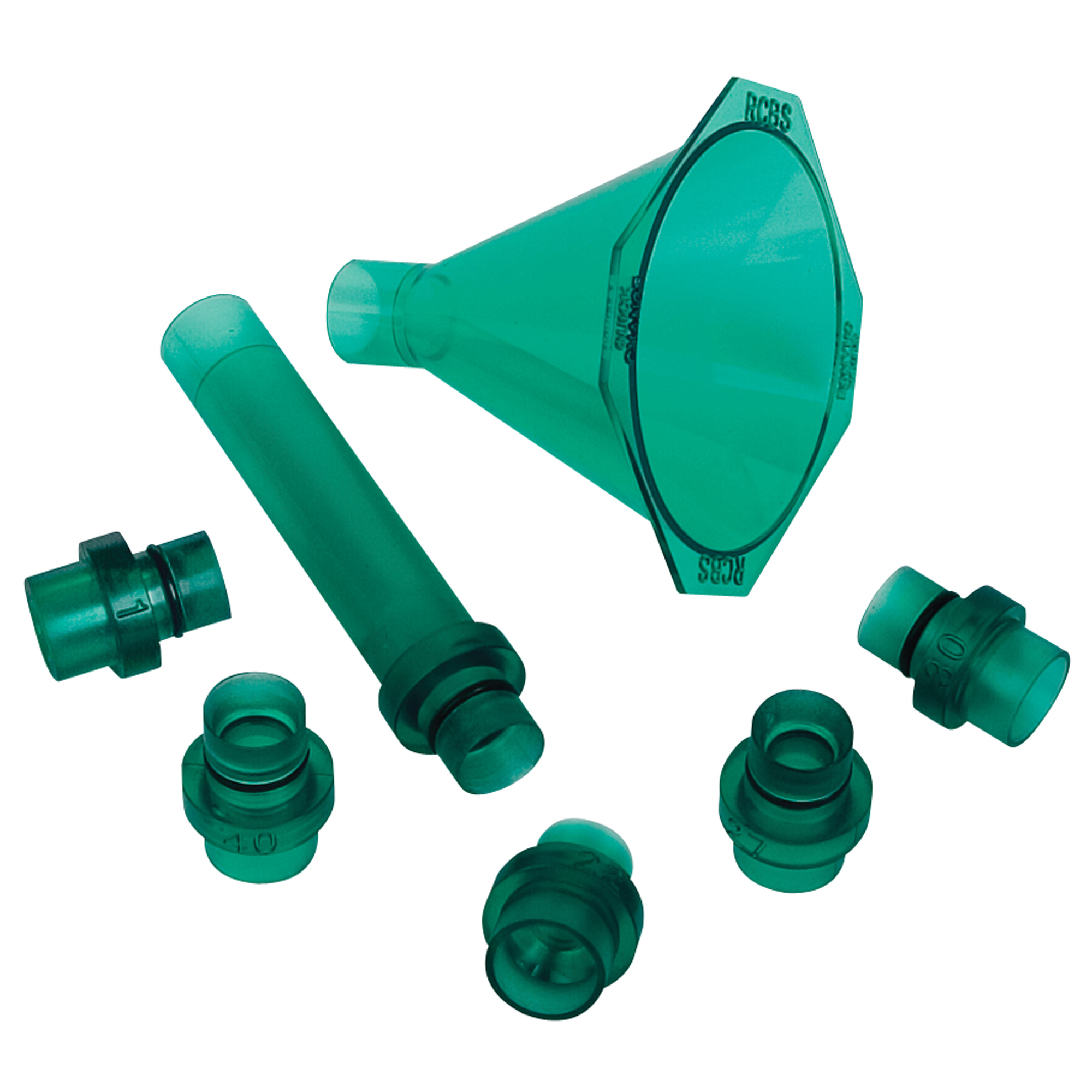 """The Quick Change Powder Funnel features adapters that are supported by the body of the case and allow reloaders to choose the optimum powder flow. The 4-inch drop tube helps get that compressed powder charge into the case. The drop tubes are stackable so reloaders can increase the drop length if necessary. With the adapters removed"""" the powder funnel allows reloaders to return powder into the original container quickly."""