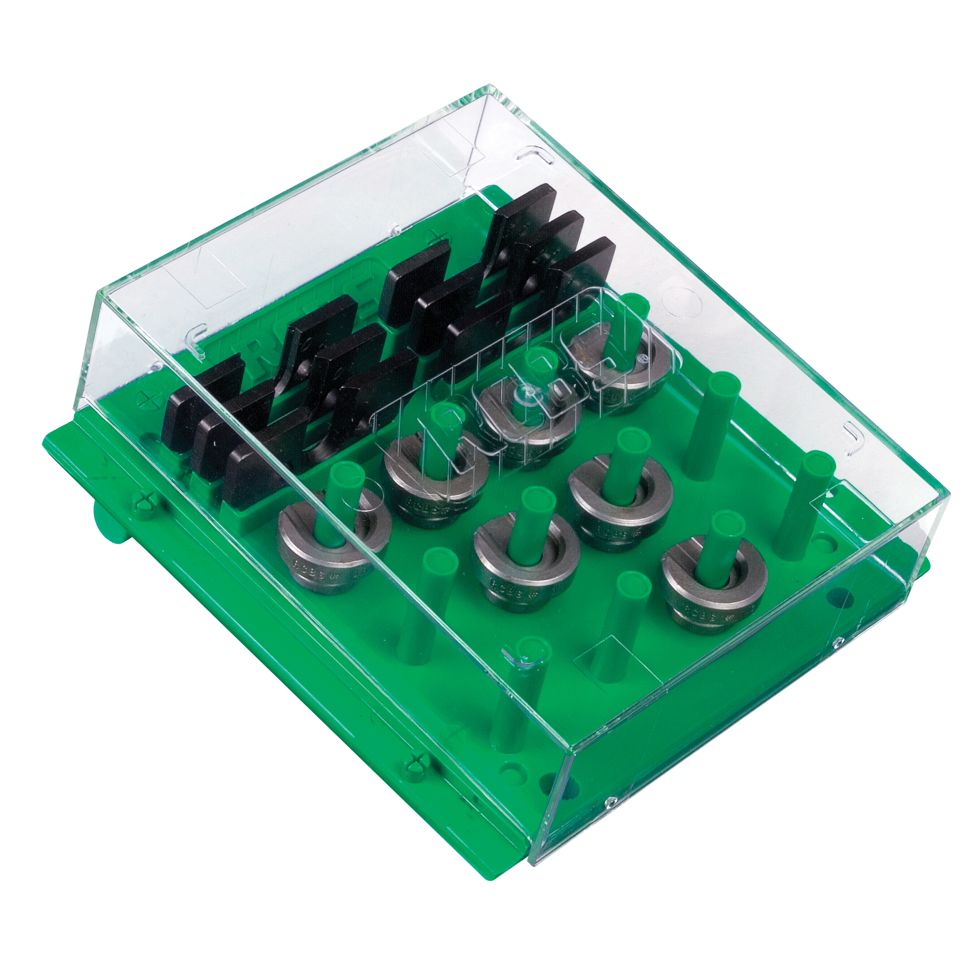 """With the RCBS(R) Shell Holder Rack"""" reloaders can keep shell holders organized and protected. The Shell Holder Rack has 12 positions that hold two shell holders on each post. There is also room to store six Trim Pro(R) Shell Holders as well. The clear cover keeps out the dust and dirt while allowing reloaders to see what is stored in the rack. The Shell Holder Rack can be mounted on the wall or used on the bench. The wall mount spacing allows it to be hung off of standard 1-inch pegboard hooks as well. The support legs angle the bottom out for wall mounting or the top up for bench use. Additional Shell Holder Racks can be snapped together if more shell holder storage is needed."""