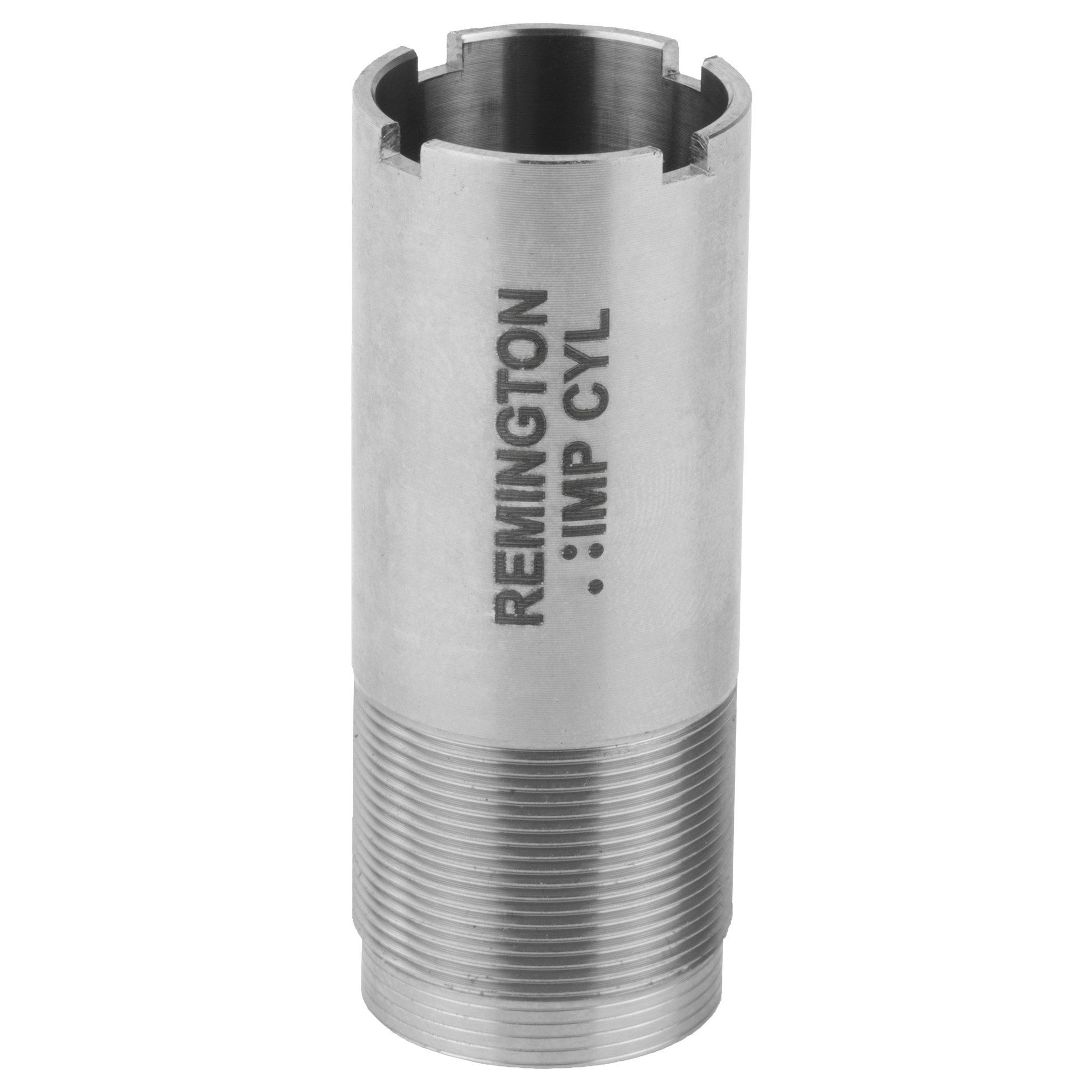 """Rem(TM) Choke 12 Ga. Improved Cylinder Flush"""" Steel or Lead. Remington's factory Rem Chokes are a system of interchangeable choke tubes and extended chokes that allow you to quickly and easily change the choke of your shotgun to match specific hunting conditions. Performance tuned for all Remington shotguns in field and target constrictions for optimal pattern performance."""