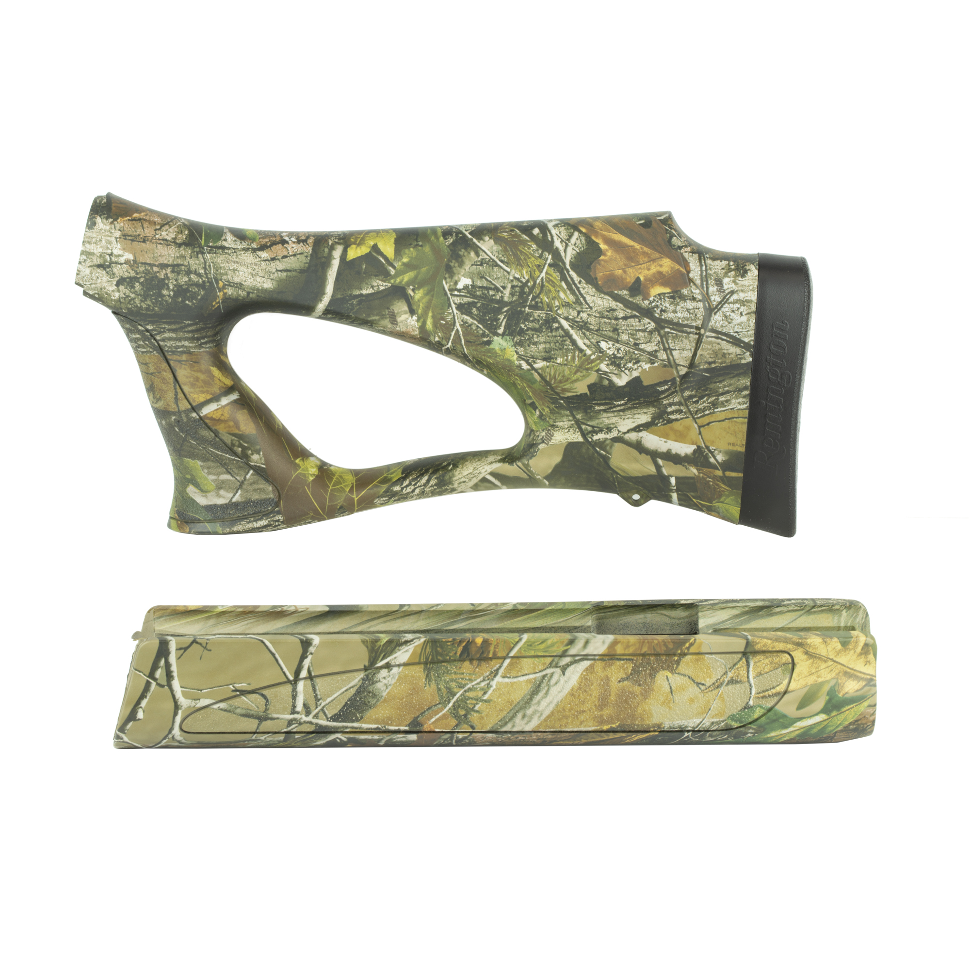 """The Remington 1187 Shurshot Thumbhole Stock combines the best of thumbhole and pistol-grip designs. The ShurShot stock affords right- and left-handed shooters equally astounding levels of shooting comfort and rock-steady aim. It was developed to meet the demands of deer"""" turkey and predator hunts. The natural"""" ergonomic pistol grip optimizes point ability and works in conjunction with the revolutionary new Supercell recoil pad to cancel felt recoil for more accurate first shots and faster follow-ups. It's an ultra-lightweight design and the comb is specially contoured for rapid eye alignment with your sights or scope. Fits Remington 1187-12 Gauge only."""