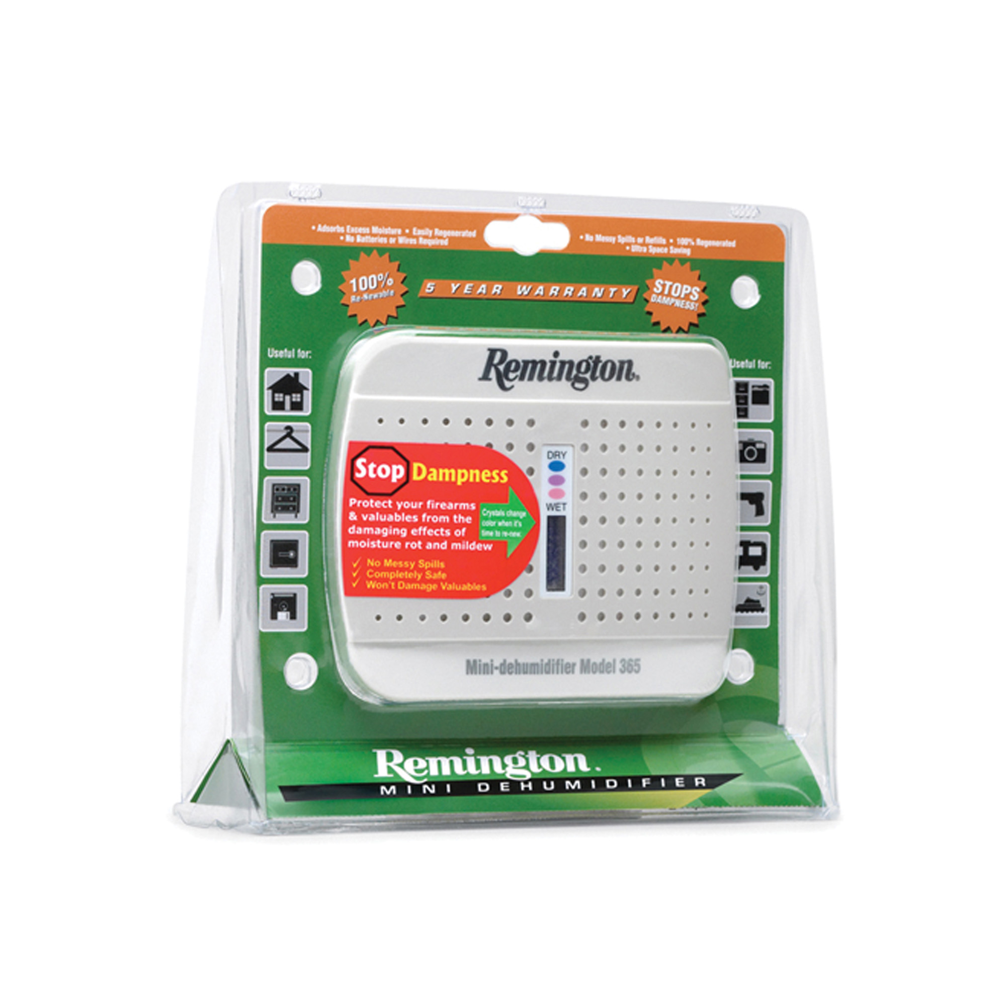 This compact unit can go anywhere without wires or extension cords. Use it to prevent damage from moisture and mildew. Protects firearms from excessive moisture within a 333 cubic feet enclosure. Keep your firearms and valuables safe and dry with the Remington Mini Dehumidifier.
