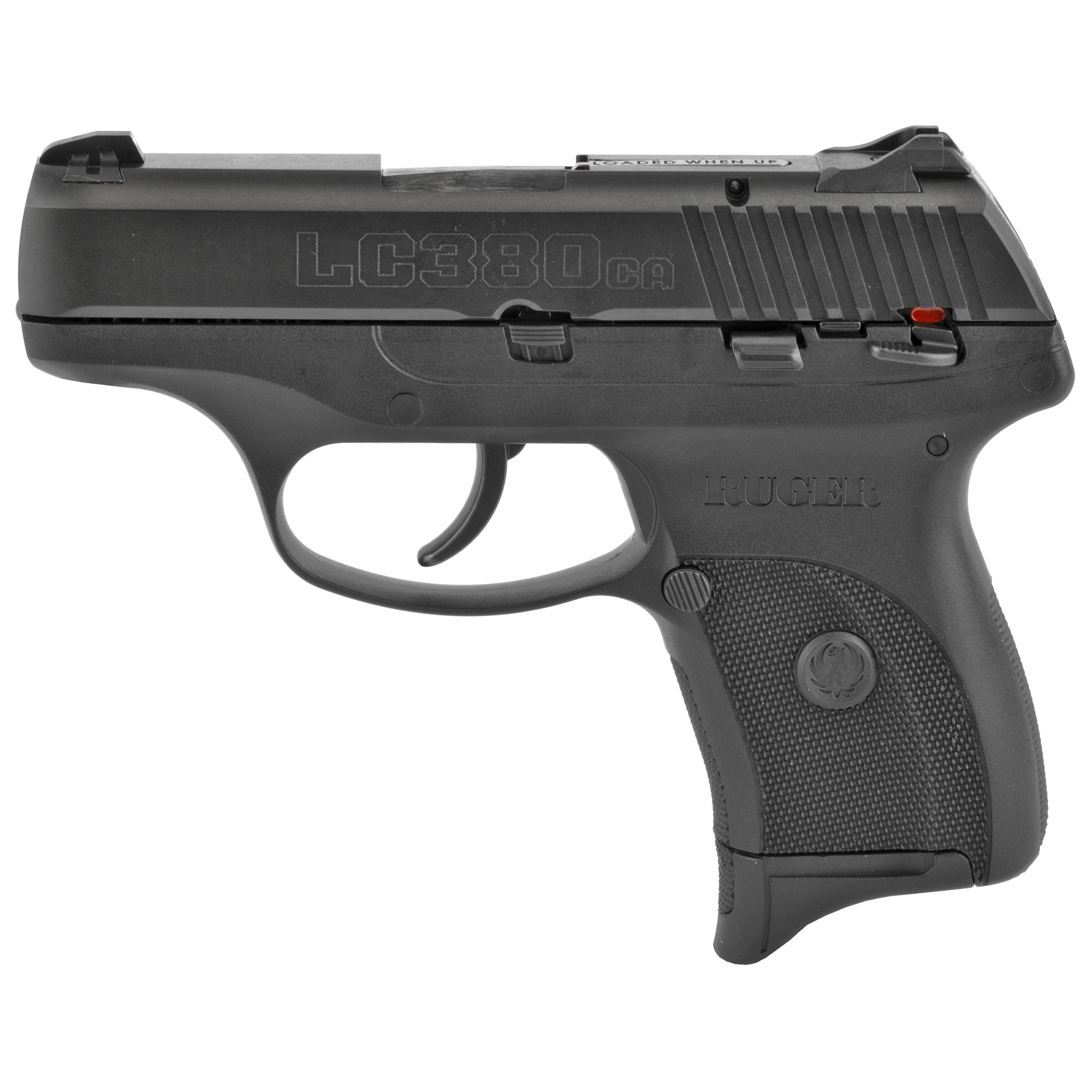 """Ruger LC380 models are slim"""" lightweight and compact. They are just slightly larger (less than 1"""" taller and 1"""" longer) than the popular and incredibly compact LCP. It is constructed with a blued"""" through-hardened alloy steel slide and black"""" one-piece"""" high-performance"""" glass-filled nylon grip frame. It's checkered grip frame provides a secure and comfortable grip and it includes a finger grip extension floorplate that can be added to the magazine for comfort and grip. Safety features include internal lock"""" manual safety"""" magazine disconnect and patented loaded chamber indicator that allows for visual confirmation of a loaded or empty chamber. Also includes one 7-round magazine."""