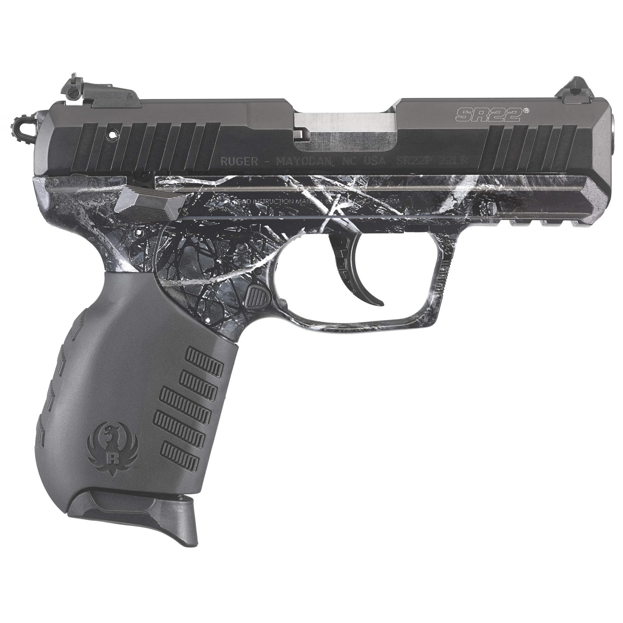 """Packed with versatile features"""" the SR22 is lightweight (only 17.5 ounces) and perfect for just about anything - plinking"""" target shooting and even small game hunting. It is easy to field strip"""" fun to shoot"""" and will run reliably with a wide variety of ammunition (not just high-velocity ammunition). The SR22 has light double-action and crisp single-action trigger pulls. Its external hammer is designed with a rounded spur for easy cocking and single-action shooting. The SR22 features a polymer frame and two interchangeable rubberized grips with angled serrations"""" allowing shooters to select either a slim or wider palm swell option. The aerospace-grade aluminum slide has serrations on both front and rear for better grip and slide manipulation. The easy-to-use underside Picatinny rail features multiple cross slots for variable mounting of most popular accessories. The 3-dot sight system has a fixed front sight and a rear sight that is adjustable for both windage and elevation. A reversible blade allows shooters to select two white dots or a solid black blade. Other SR22 features include a stainless steel replaceable barrel"""" an ambidextrous manual thumb safety/decocking lever"""" ambidextrous magazine release"""" plus a visual inspection port to determine the load status of the pistol. The SR22 includes two finger grip extension floorplates that can be added to the magazine for comfort and grip and two 10-round magazines."""