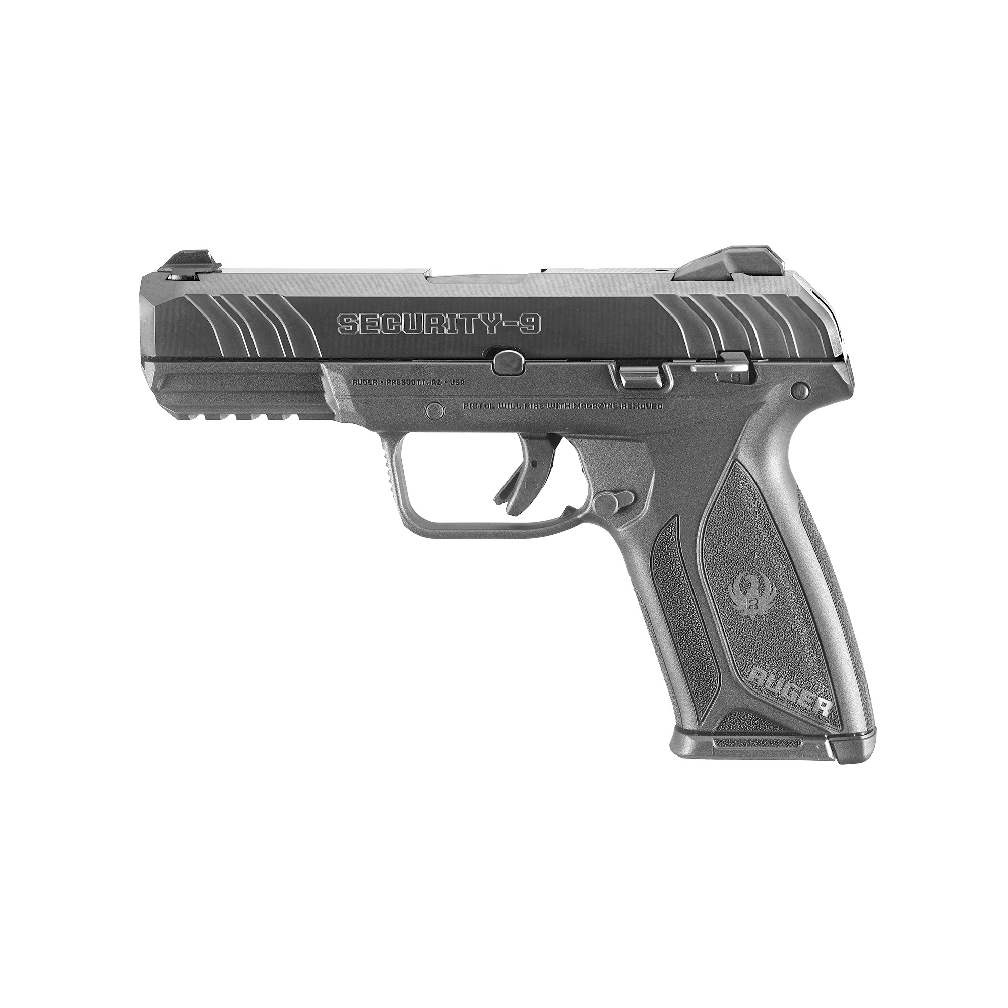 """When it comes to security"""" simple and affordable is hard to beat. Ruger's Security-9 is ideal for everyday carry and self-defense. This mid-sized model is designed to fit a variety of available holsters and concealed carry options. The Secure Action used in the Security-9 is derived from the reliable and proven hammer-fired LCP fire control system. The Secure Action combines the smooth trigger pull of the LCP with the short"""" crisp feel and positive reset of a single action. The internal"""" Secure Action hammer provides strong ignition force yet allows for easier slide racking when compared with many striker-fired pistols. Front cocking serrations enable positive slide manipulation. The dovetailed"""" high-visibility sight system with drift adjustable rear sight and fixed front sight"""" can be easily changed out for different color options. Safety features include bladed trigger safety; manual safety; neutrally balanced sear with significant engagement and strong spring tension; and hammer catch to help prevent the hammer from contacting the firing pin unless the trigger is pulled. Includes two 15-round magazines."""