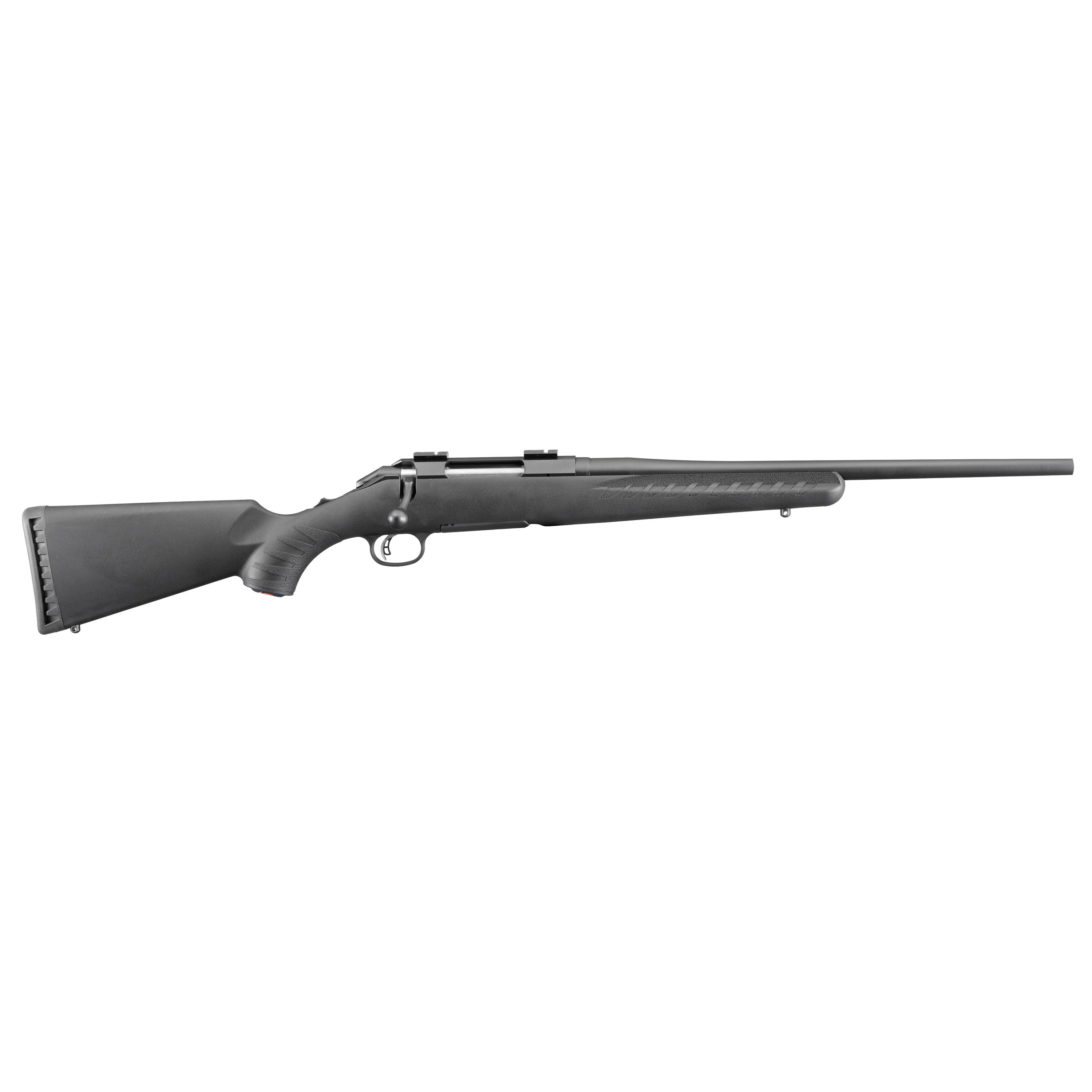 """The Ruger American features an ergonomic"""" lightweight synthetic stock designed for quick"""" easy handling and blends a classic look with modern forend contouring and grip serrations. The one-piece"""" three-lug bolt with 70 degree throw provides ample scope clearance and utilizes a full diameter bolt body and dual cocking cams for smooth"""" easy cycling from the shoulder."""