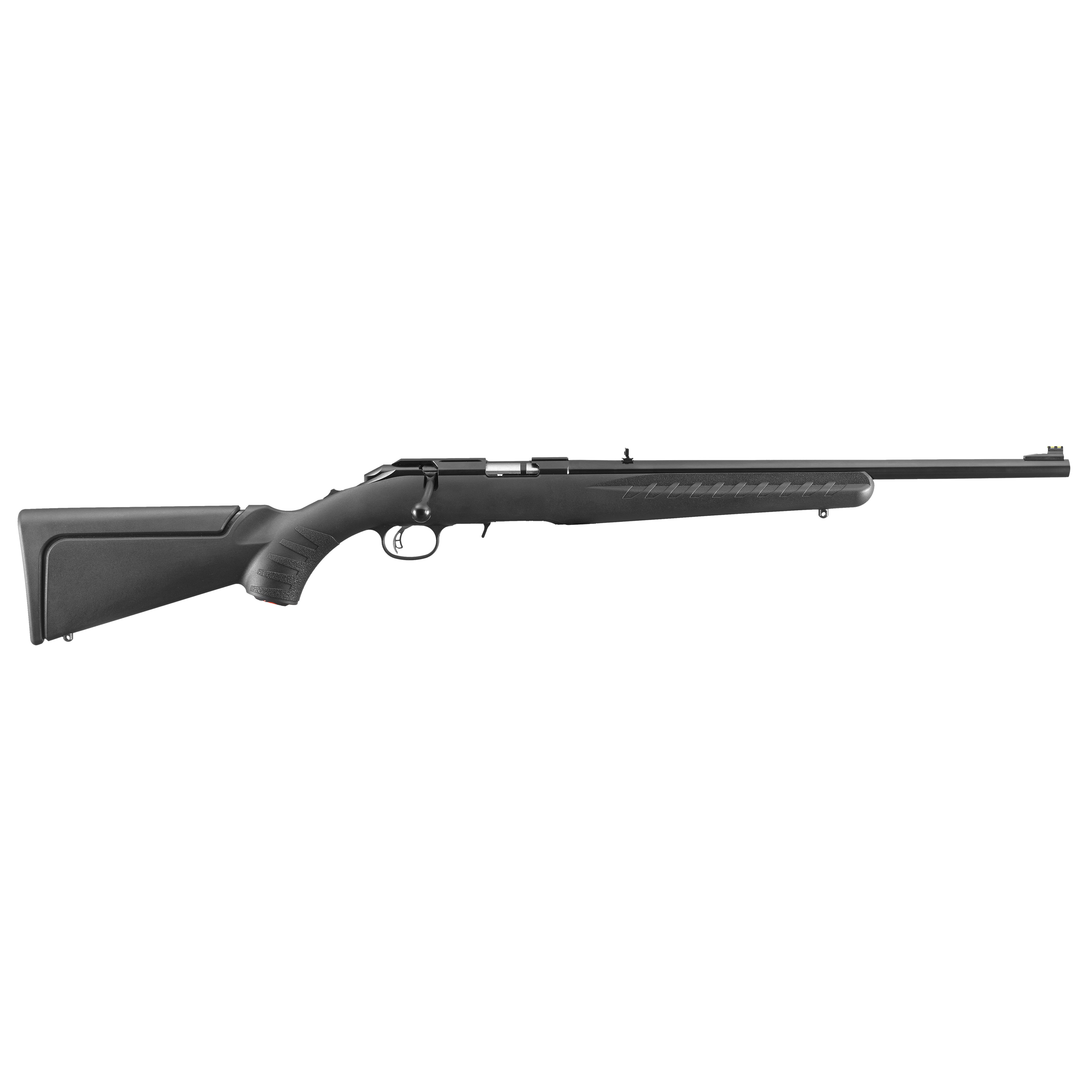 """Each Ruger American Rimfire(R) rifle includes two interchangeable stock modules that provide comb height options for scope or iron sight use (excludes wood and laminate stock models). Standard models come with long length of pull modules"""" while compact models come with short length of pull modules. By simply removing the rear sling swivel stud"""" stock modules can be changed in seconds. All four stock modules are completely interchangeable across all models. Easy-to-use 10/22(R)-style extended magazine release provides smooth"""" no-fuss removal of flush-mounted magazine. Patent-pending Power Bedding(R) integral bedding block system positively locates the receiver and free-floats the barrel for outstanding accuracy. Ruger Marksman Adjustable(TM) trigger offers a crisp release with a pull weight that is user adjustable between 3 and 5 pounds"""" allowing shooters to make that perfect shot. Features a visible"""" accessible and easy-to-actuate tang safety that provides instant security. Cold hammer-forged barrel results in ultra-precise rifling that provides exceptional accuracy"""" longevity and easy cleaning. A 3/8"""" rimfire scope base is machined into the receiver"""" which is also drilled and tapped for Weaver(R) #12 bases (not included). A 60 degree bolt provides ample scope clearance and the easy-to-use"""" receiver-mounted bolt release allows the bolt to be readily removed without requiring a pull of the trigger"""" a unique safety feature among rimfire"""" bolt-action rifles. Also includes: Williams(TM) fiber optic front sight and adjustable"""" """"V"""" slot"""" folding-leaf rear sight; sling swivel studs."""