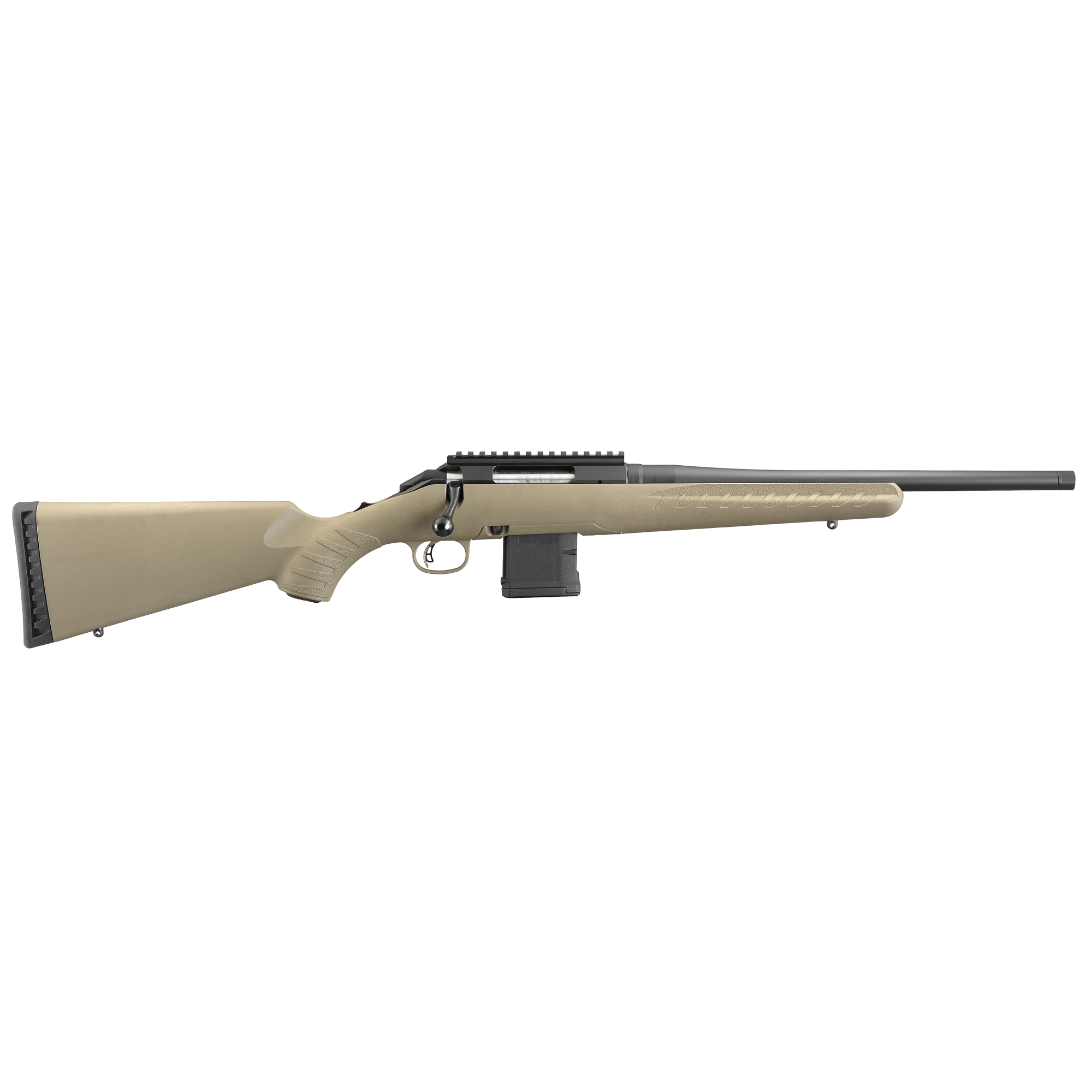 """Ruger American rifles feature a one-piece"""" three-lug bolt with 70 degree throw that provides ample scope clearance and utilizes a full diameter bolt body and dual cocking cams for smooth"""" easy cycling from the shoulder. The American rifle offers minute-of-angle accuracy that can make every hunt a success."""