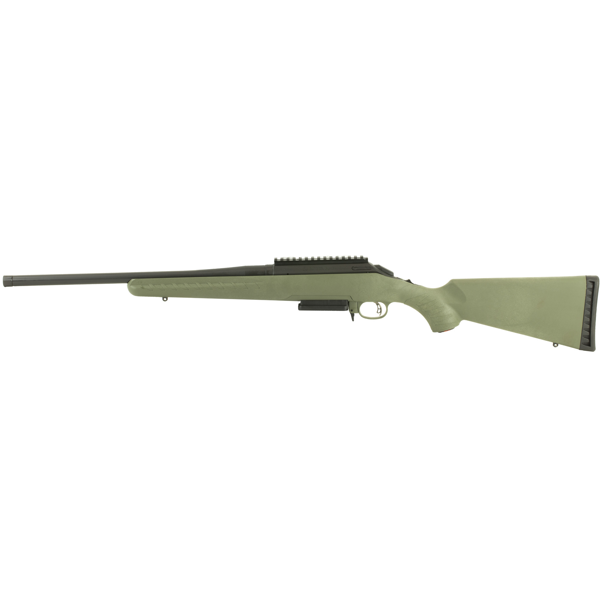 """Ergonomic"""" lightweight synthetic stock designed for quick"""" easy handling blends a classic look with modern forend contouring and grip serrations. Ruger Marksman Adjustable(TM) trigger offers a crisp release with a pull weight that is user adjustable between 3 and 5 pounds"""" allowing shooters to make that perfect shot. The one-piece"""" three-lug bolt with 70 degree throw provides ample scope clearance and utilizes a full diameter bolt body and dual cocking cams for smooth"""" easy cycling from the shoulder. Patent-pending Power Bedding(R)"""" integral bedding block system positively locates the receiver and free-floats the barrel for outstanding accuracy. Offers minute-of-angle accuracy that can make every hunt a success. Cold hammer-forged barrel results in ultra- precise rifling that provides exceptional accuracy"""" longevity and easy cleaning. Features a visible"""" accessible and easy-to-actuate tang safety that provides instant security. Soft rubber buttpad is crafted for maximum recoil reduction."""