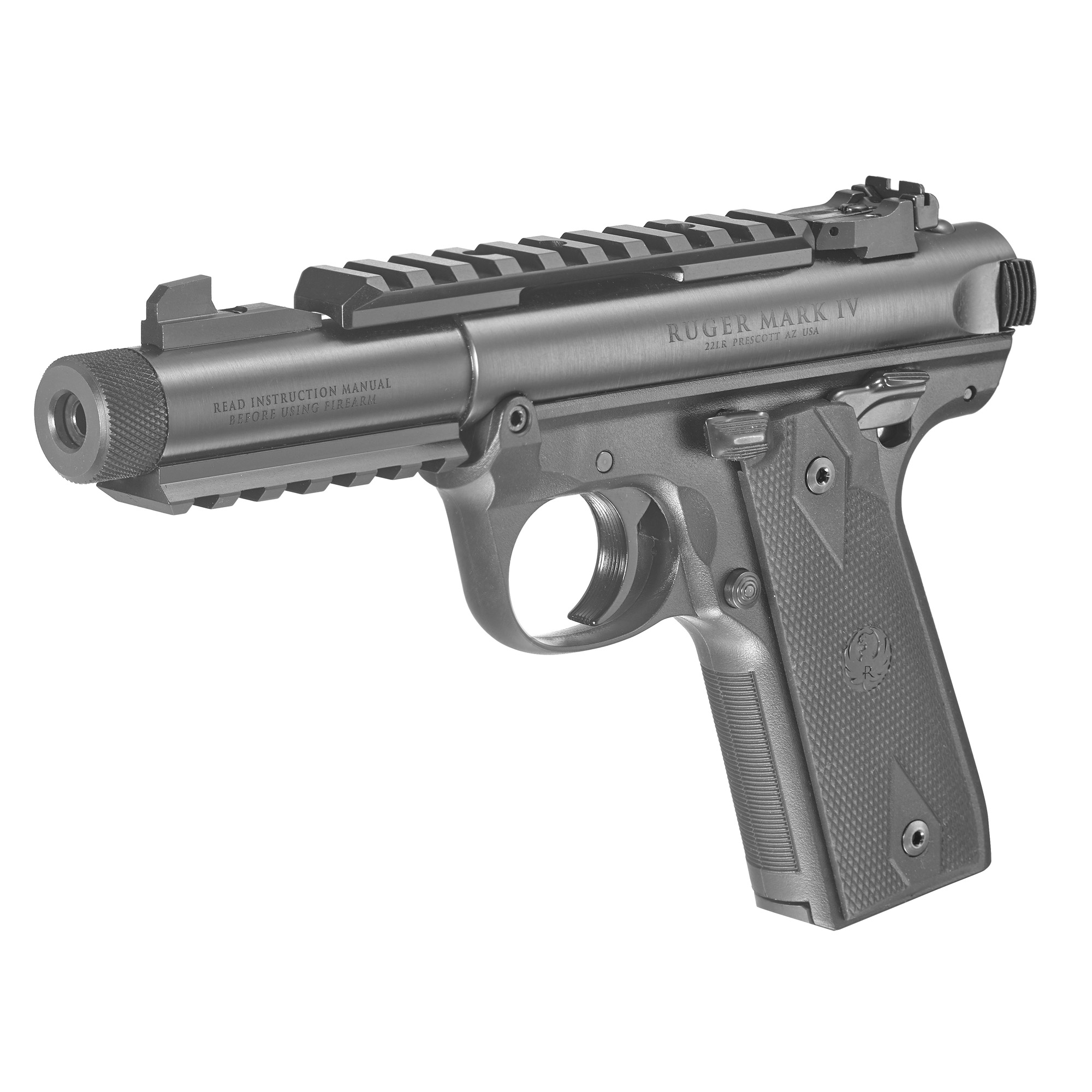 """The Ruger Mark IV Rimfire Pistols have the classic look of the Mark III with a simple"""" one-button takedown for quick and easy field stripping. A recessed button in the back of the frame allows the upper receiver to tilt up and off of the grip frame without the use of tools. The bolt simply slides out of the receiver and the barrel can be properly cleaned from chamber to muzzle. The MKIV includes other significant improvements such as a one-piece grip frame that is precision CNC-machined from a solid piece of aluminum alloy; an ambidextrous manual safety and a redesigned bolt stop for more ergonomic operation. The magazine drops free on release for faster reloads and a redesigned magazine disconnect safety prevents discharge when the magazine has been removed. Internal improvements include changes to the hammer"""" sear"""" bolt and firing pin for smoother"""" more reliable feeding. Specific features vary by model"""" but the legendary"""" one-piece barreled receiver and internal cylindrical bolt construction remain the same. The robust design ensures permanent sight-to-barrel alignment and higher accuracy potential than conventional moving-slide designs. Includes two 10-round magazines."""