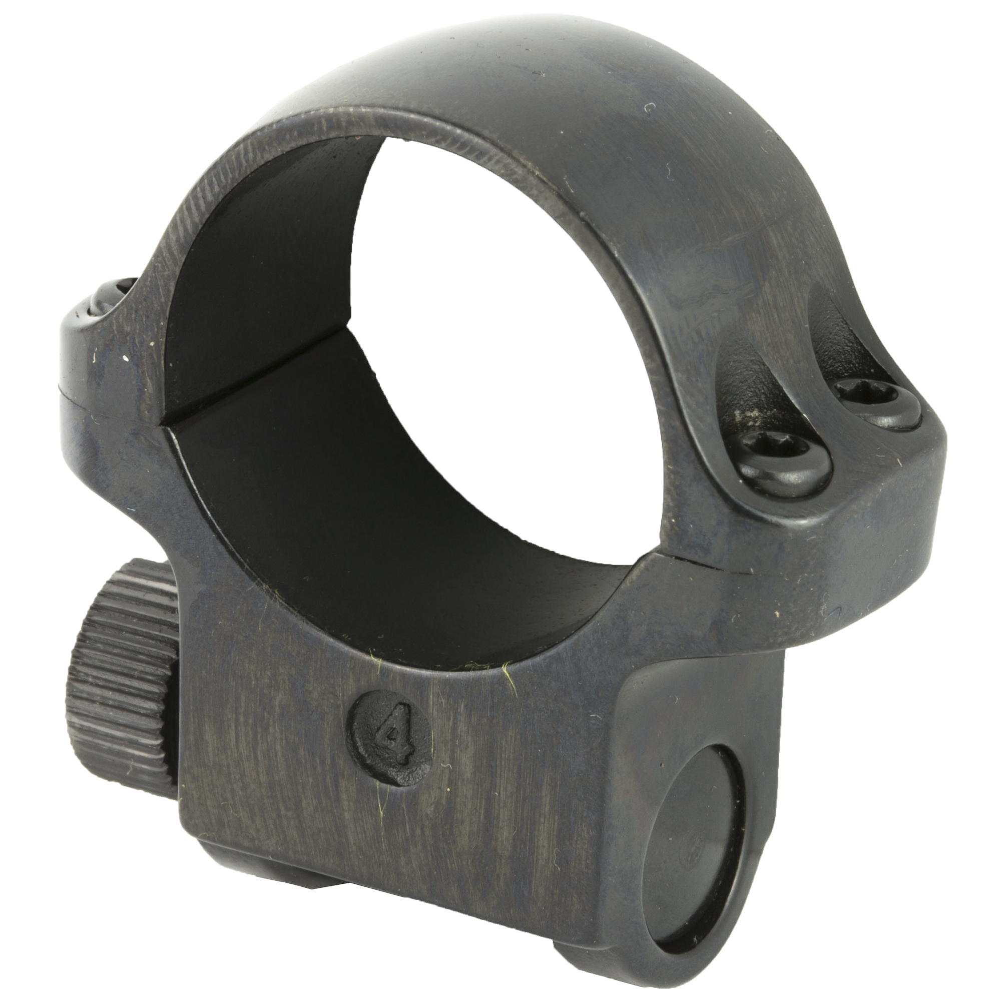 Medium Scope Ring with a Blued Finish. Designed to fit a scope with a one-inch scope tube diameter and a 42 MM objective diameter. Sold individually.