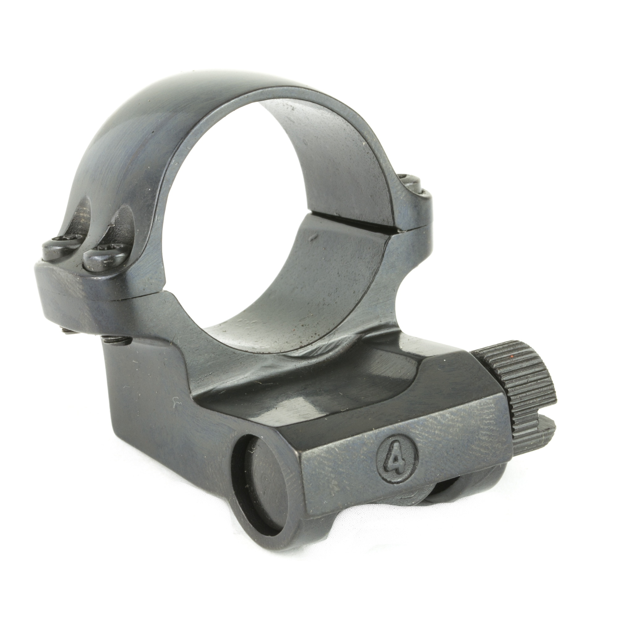 Offset Medium Scope Ring with a Blued Finish. Designed to fit a scope with a one-inch scope tube diameter and a 42MM objective diameter and allows for rearward positioning of the scope. Sold individually.